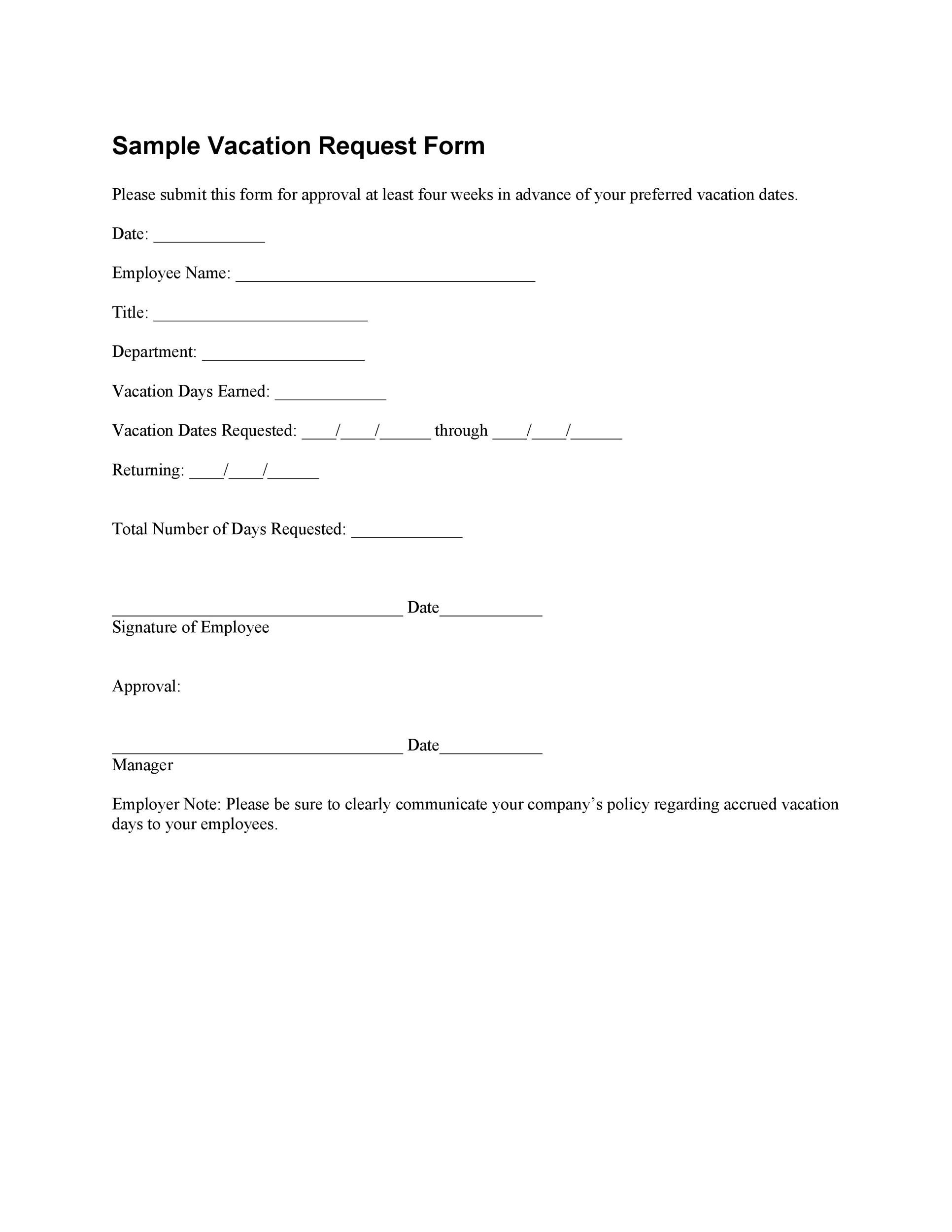 free vacation request form  8 Professional Employee Vacation Request Forms [Word] ᐅ ...