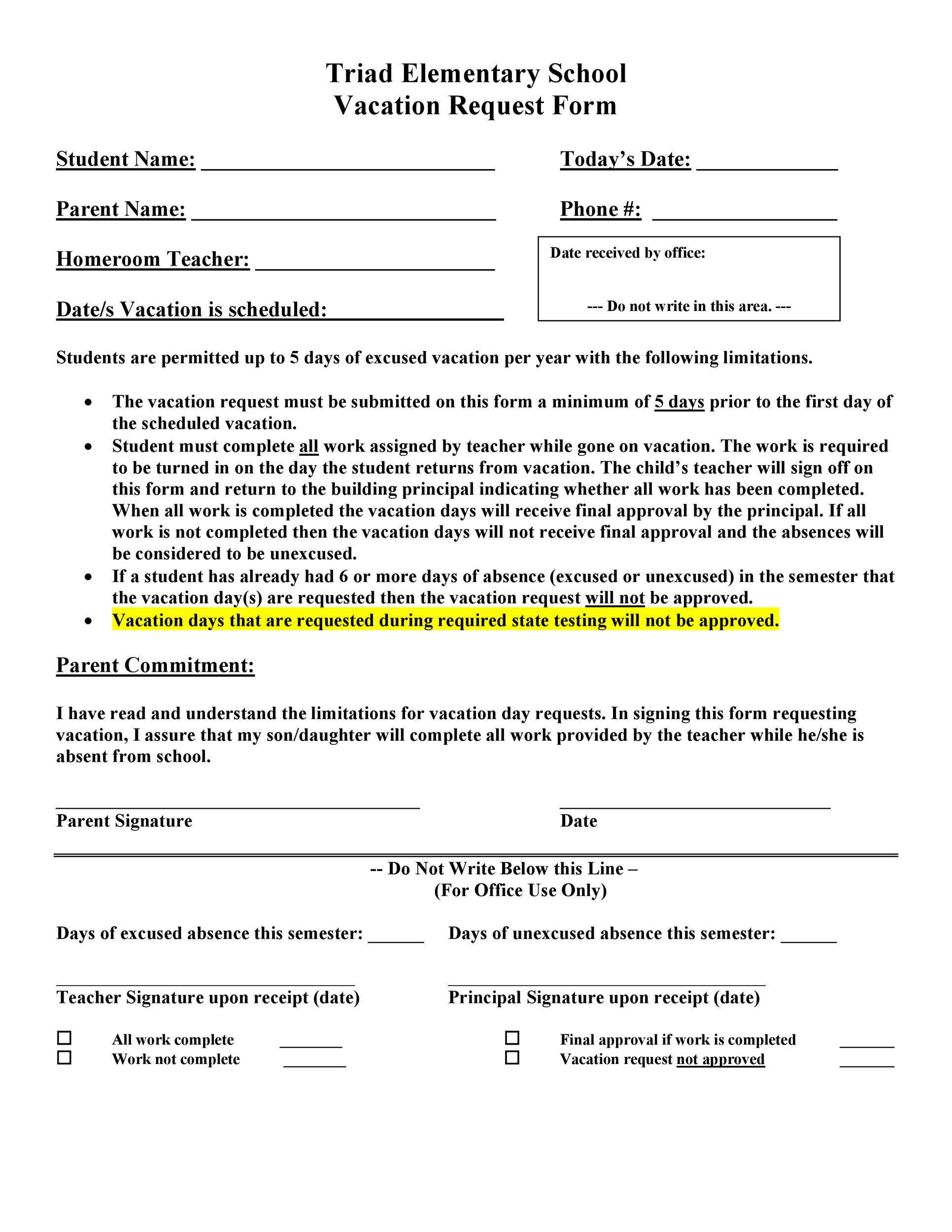 Free vacation request form 10