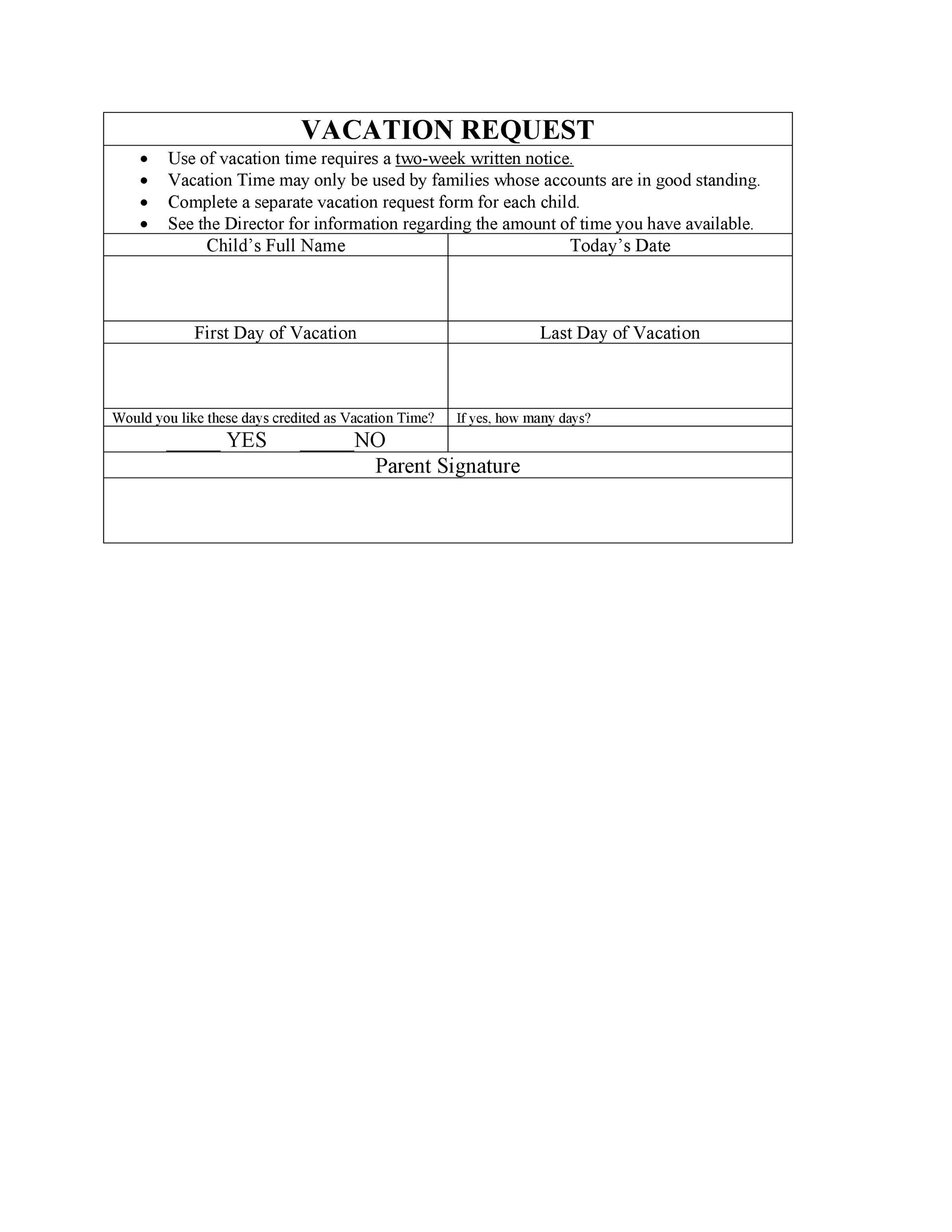 Free vacation request form 12
