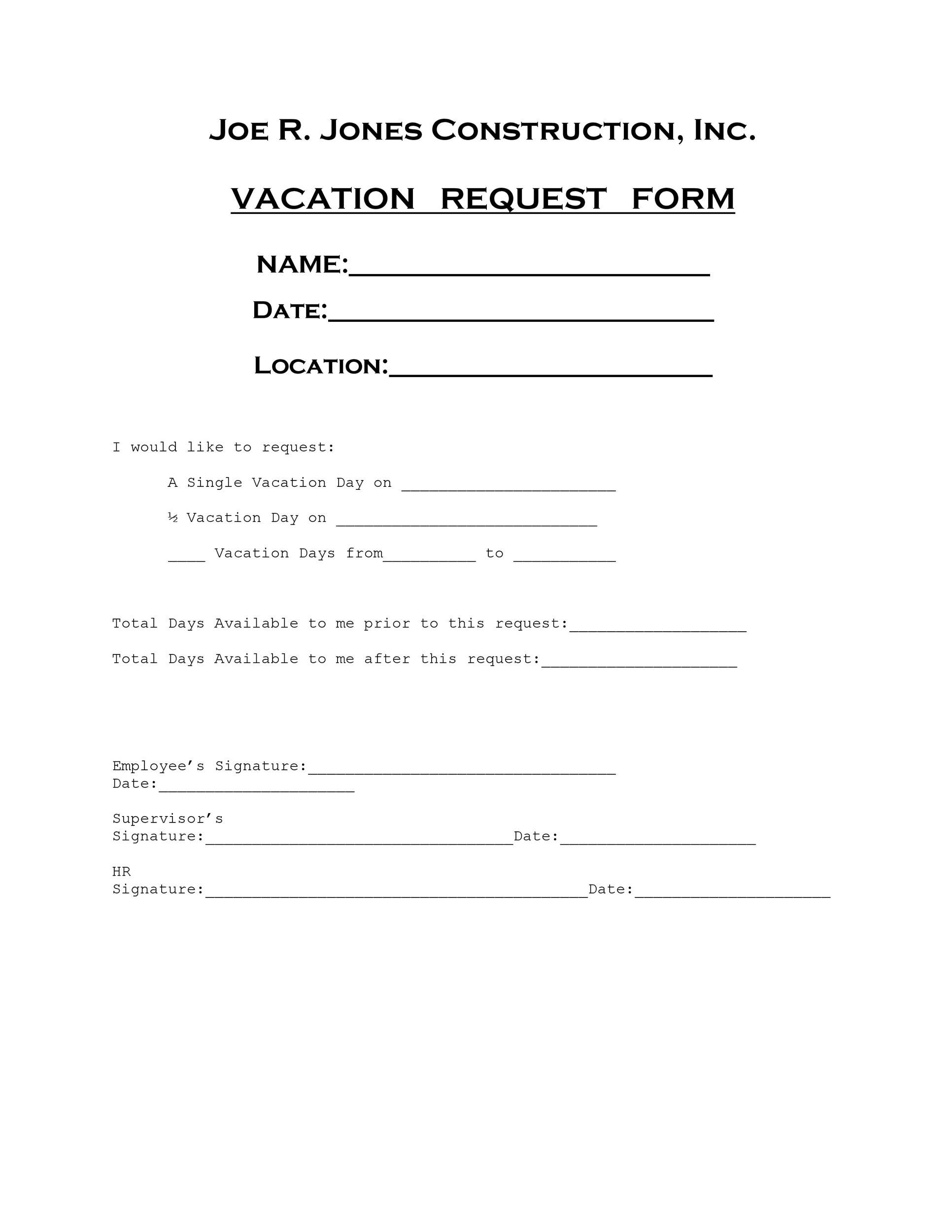Free vacation request form 14