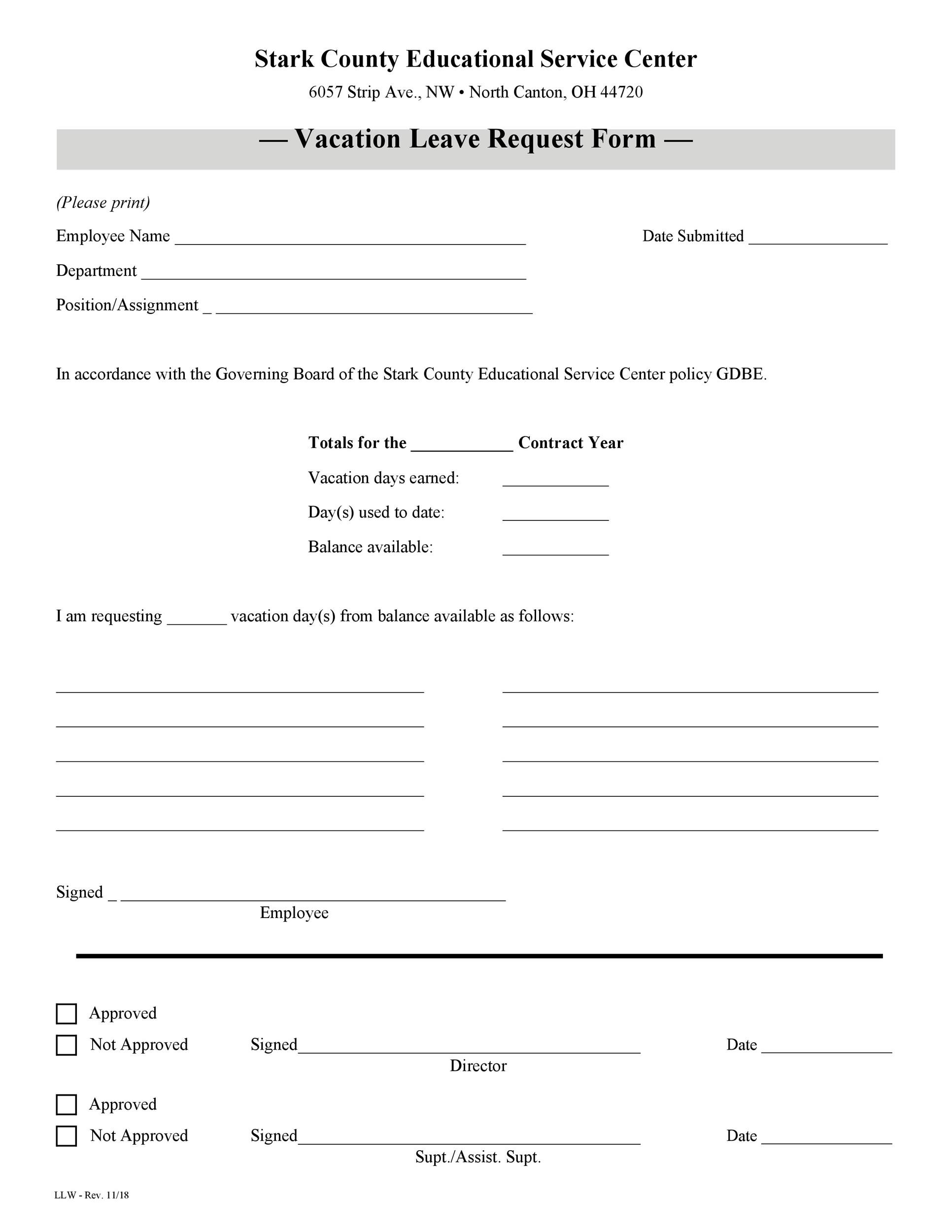 Free vacation request form 15