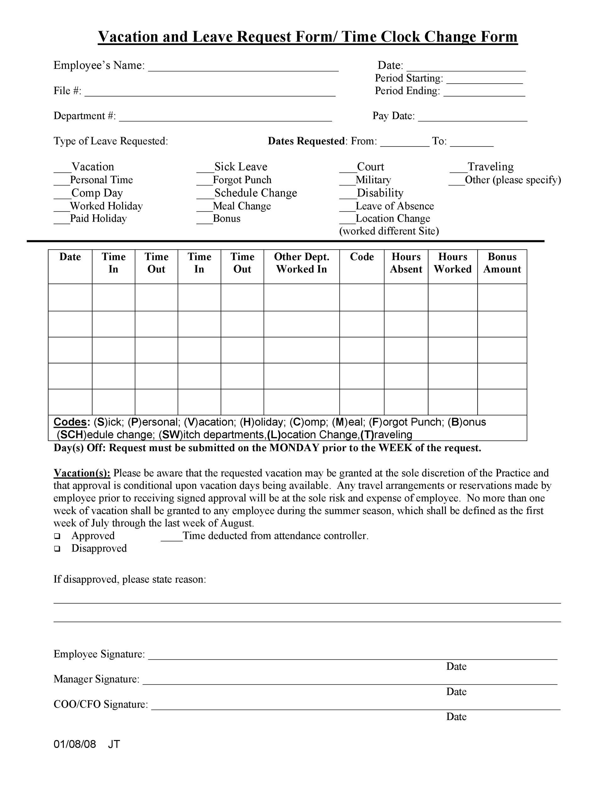 Free vacation request form 16