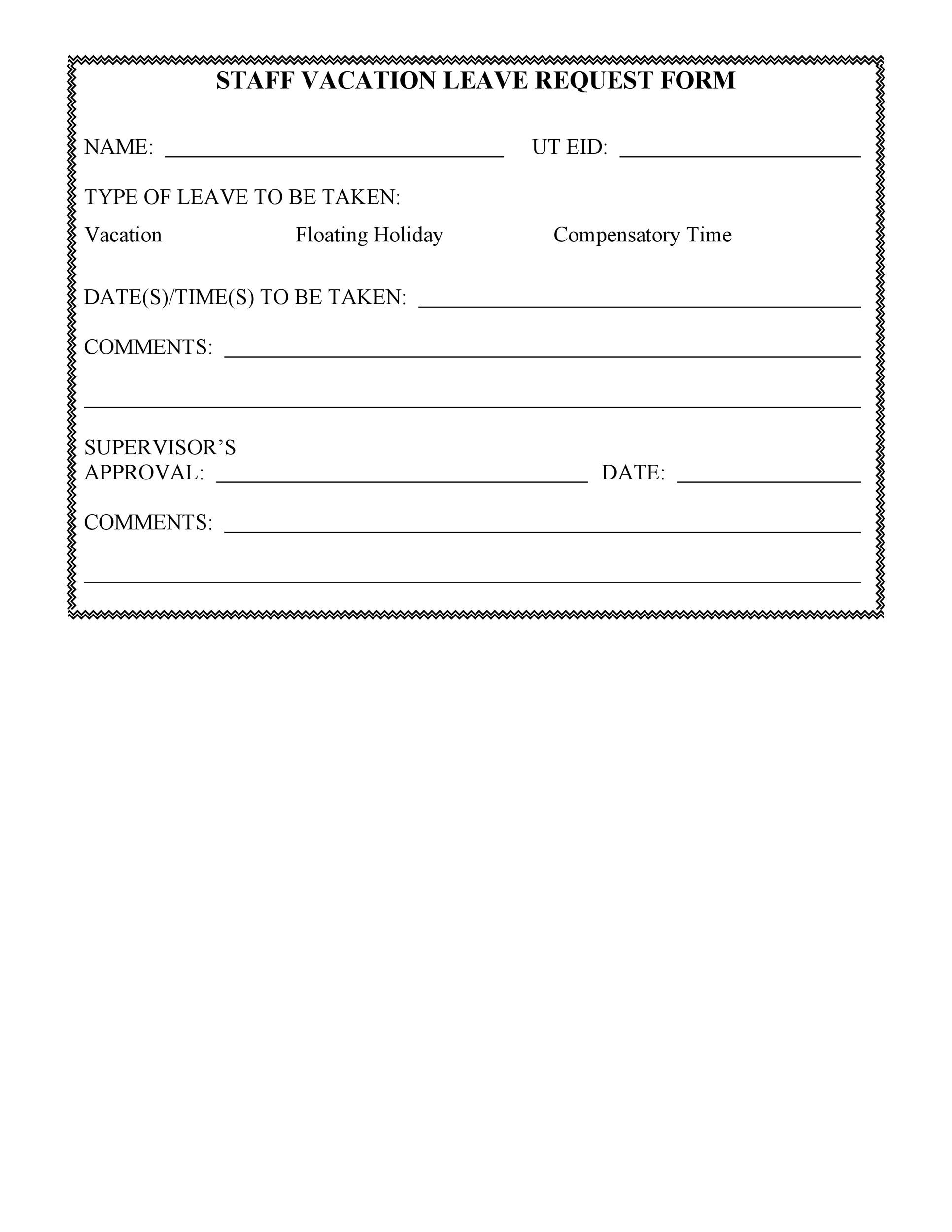 50 professional employee vacation request forms  word   u1405