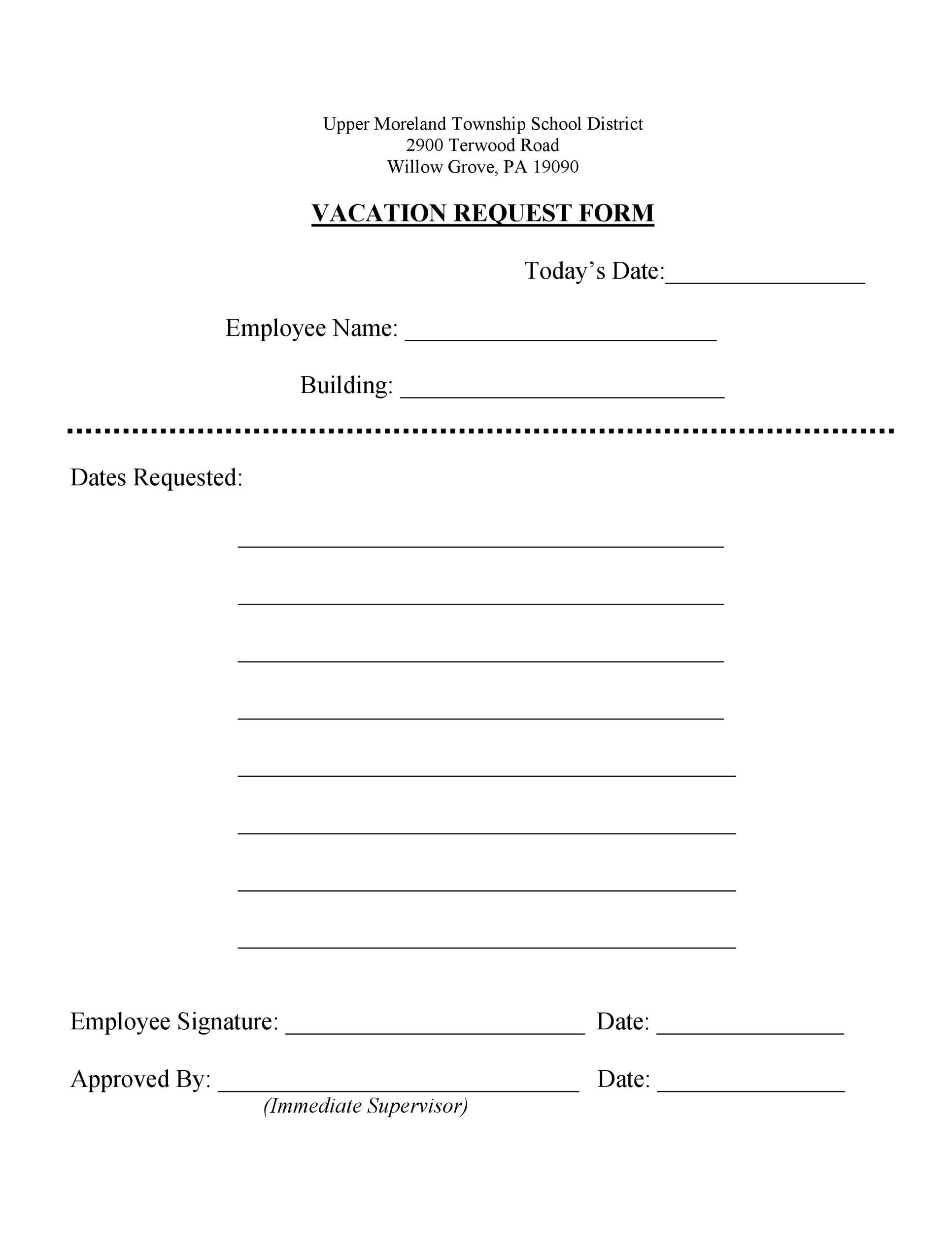 Free vacation request form 19