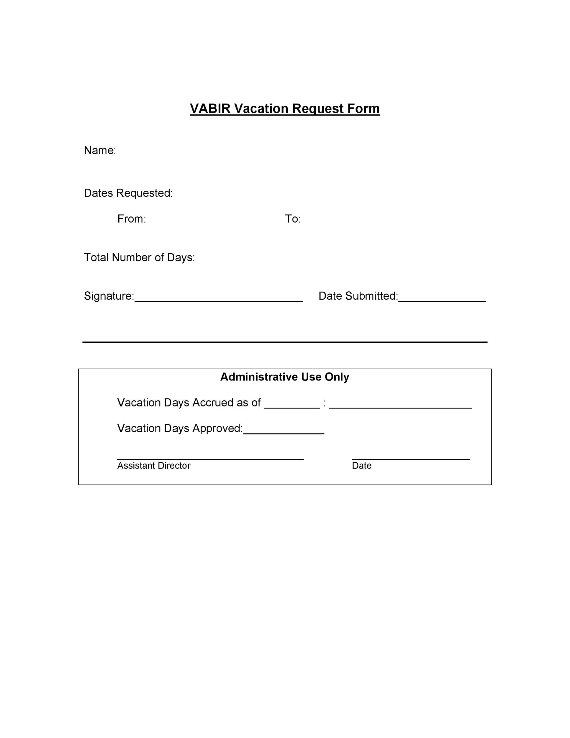 Free vacation request form 20