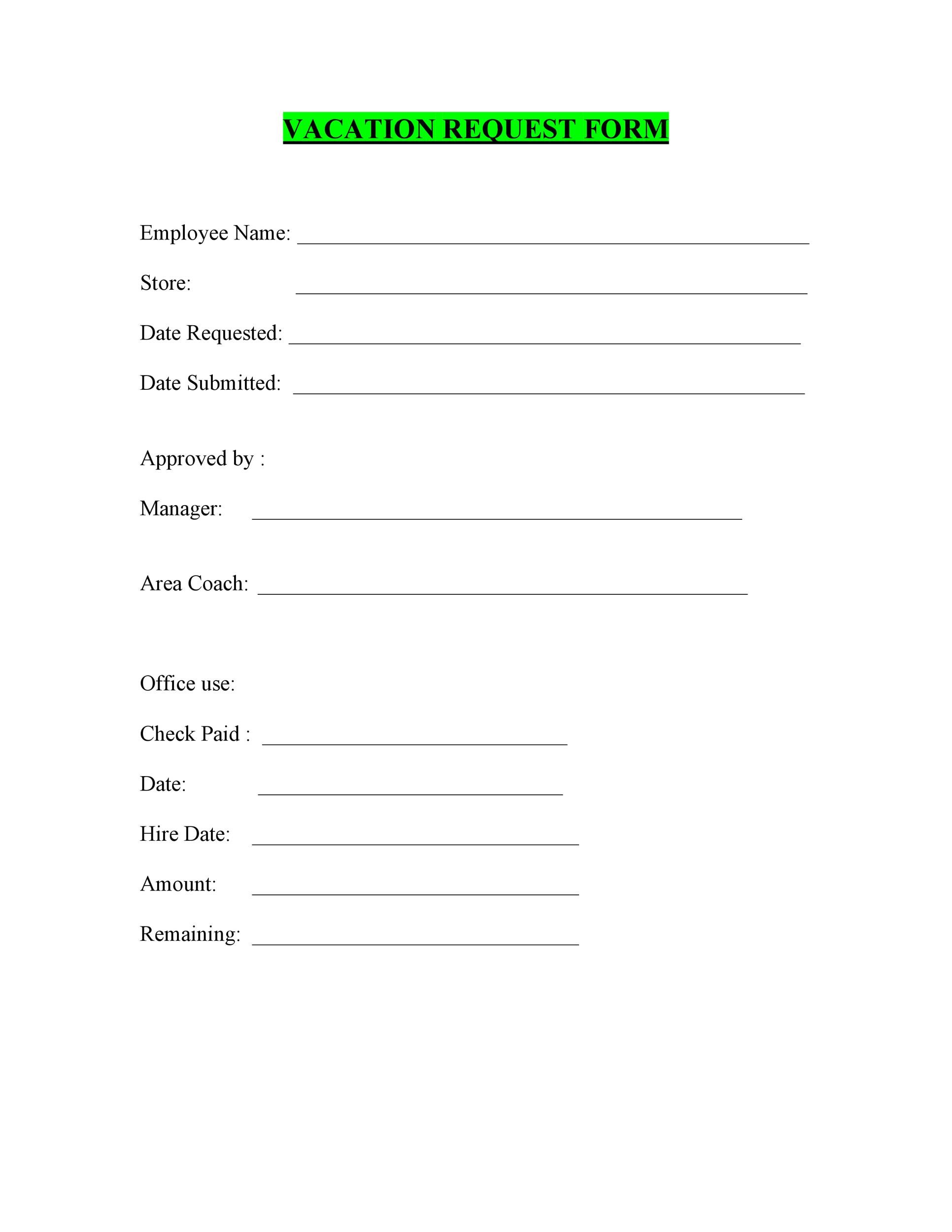Free vacation request form 21