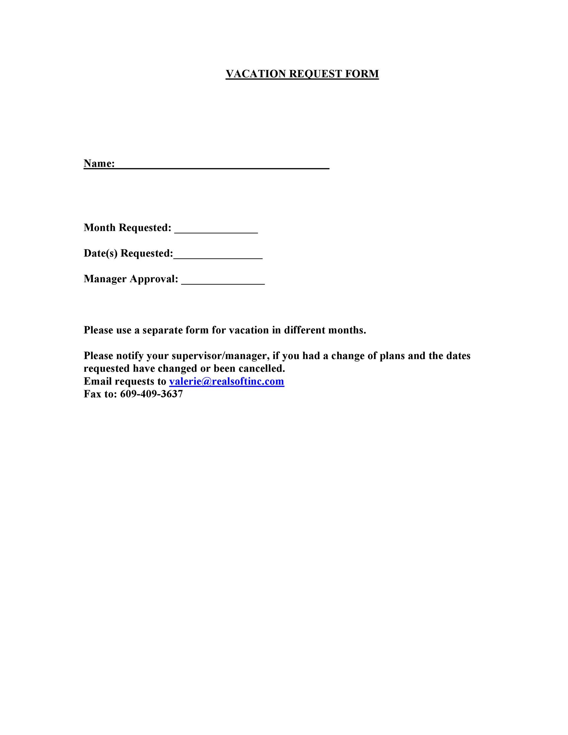 Free vacation request form 22