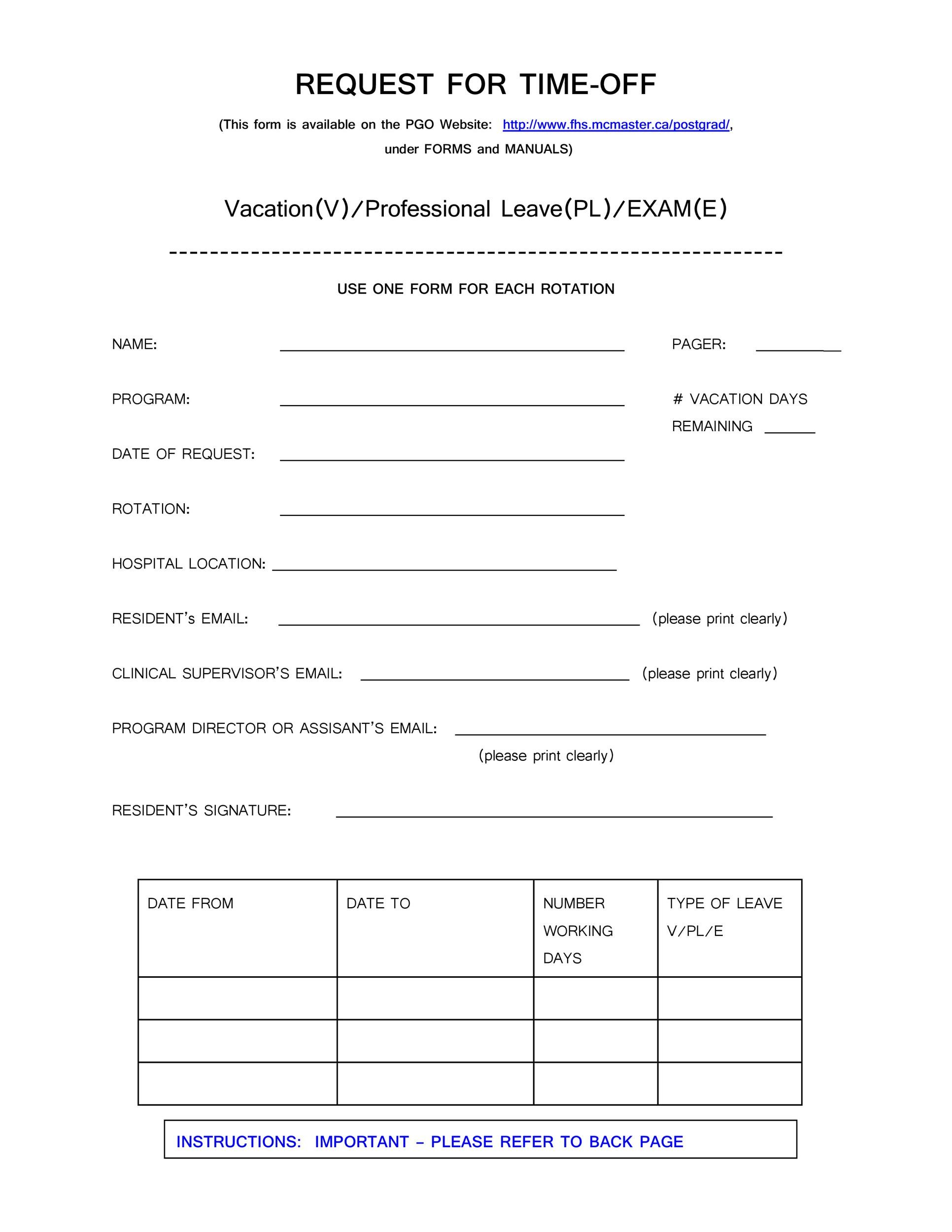 Free vacation request form 25