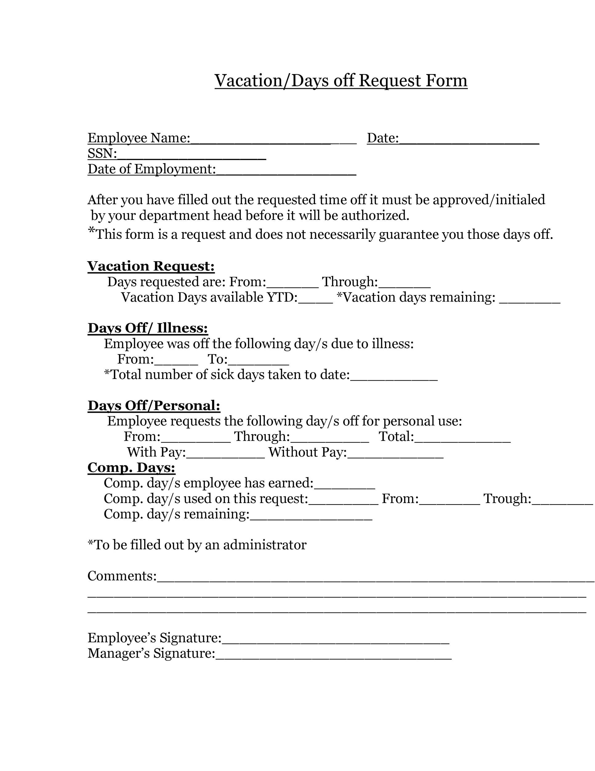Free vacation request form 26