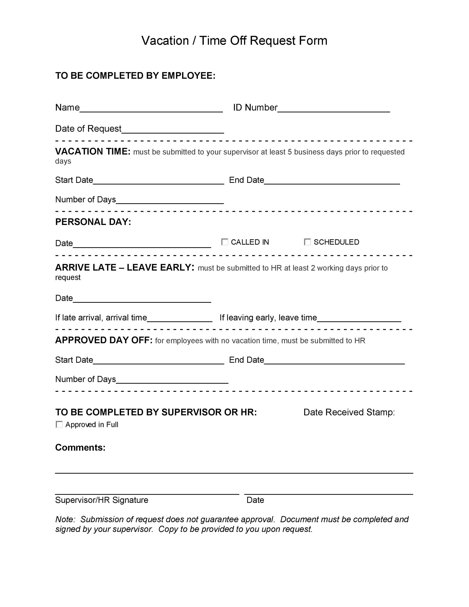 50 Professional Employee Vacation Request Forms [Word] ᐅ Template Lab