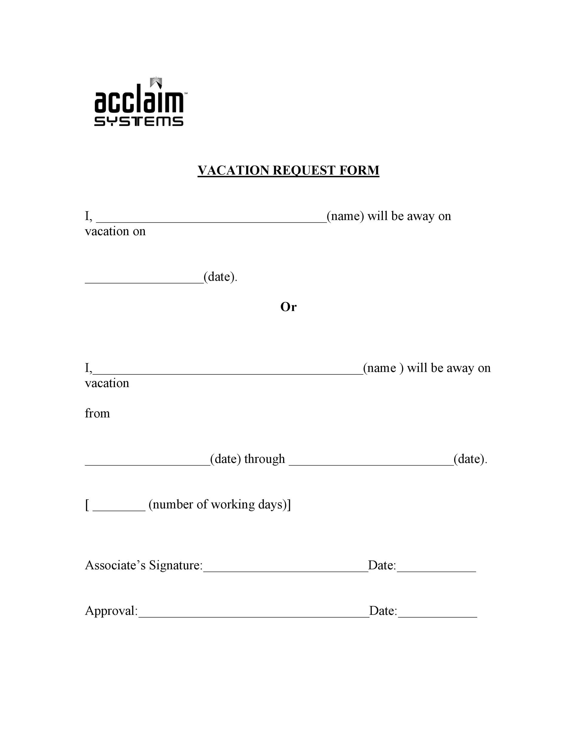 Free vacation request form 28