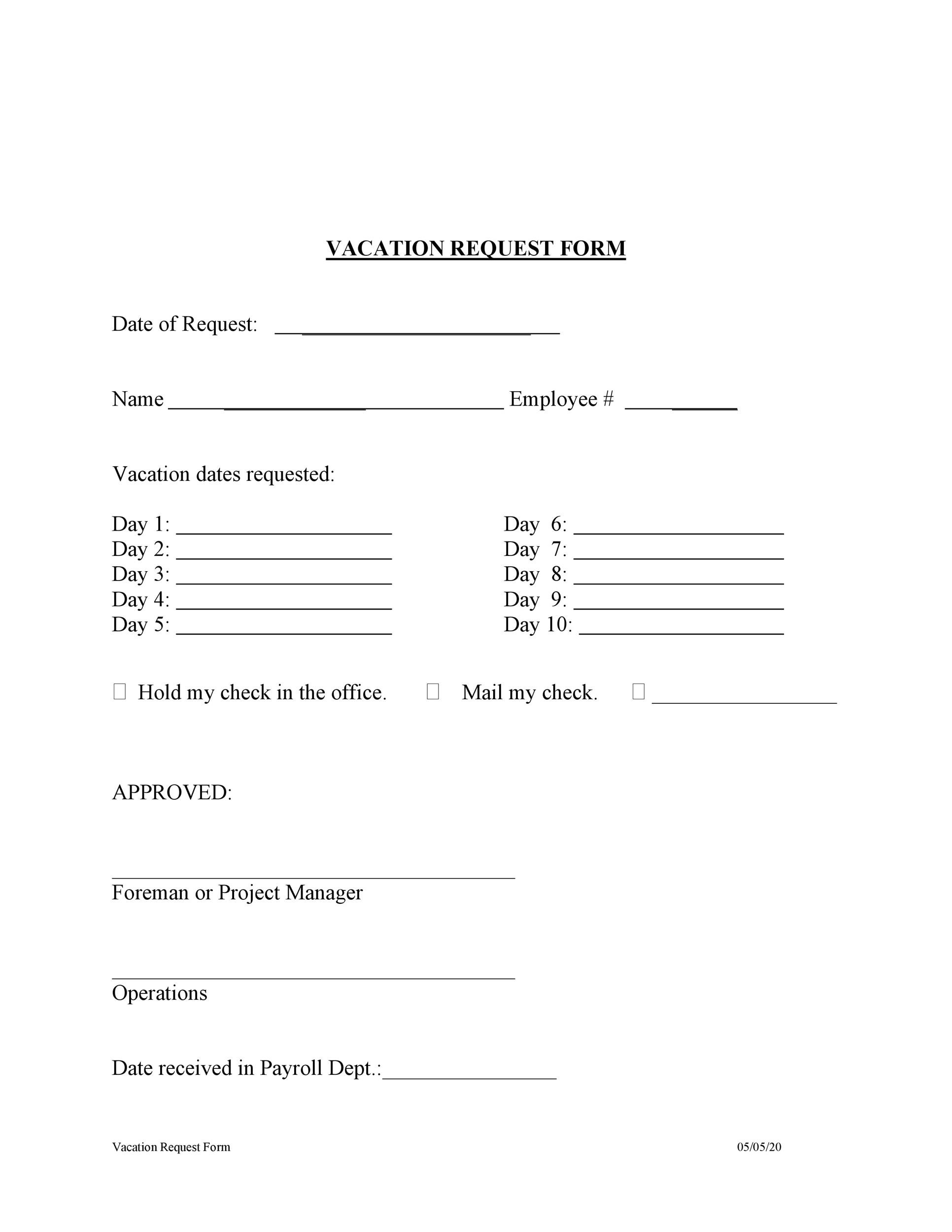Free vacation request form 29