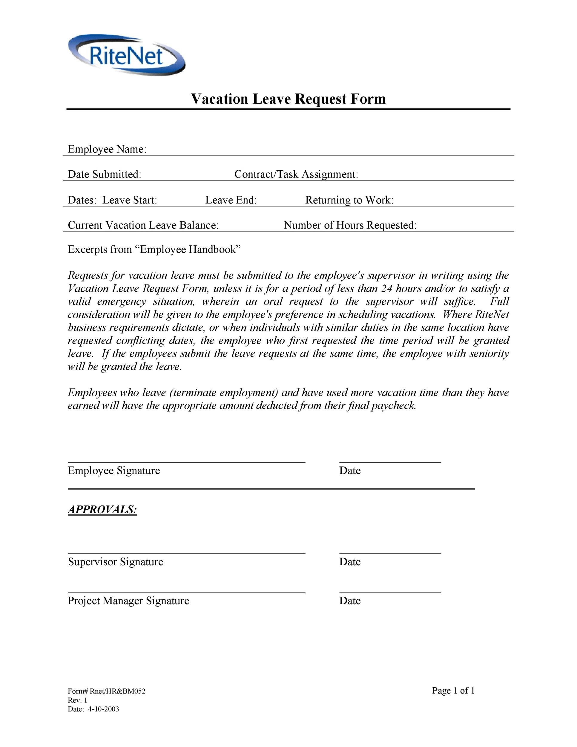 Free vacation request form 30