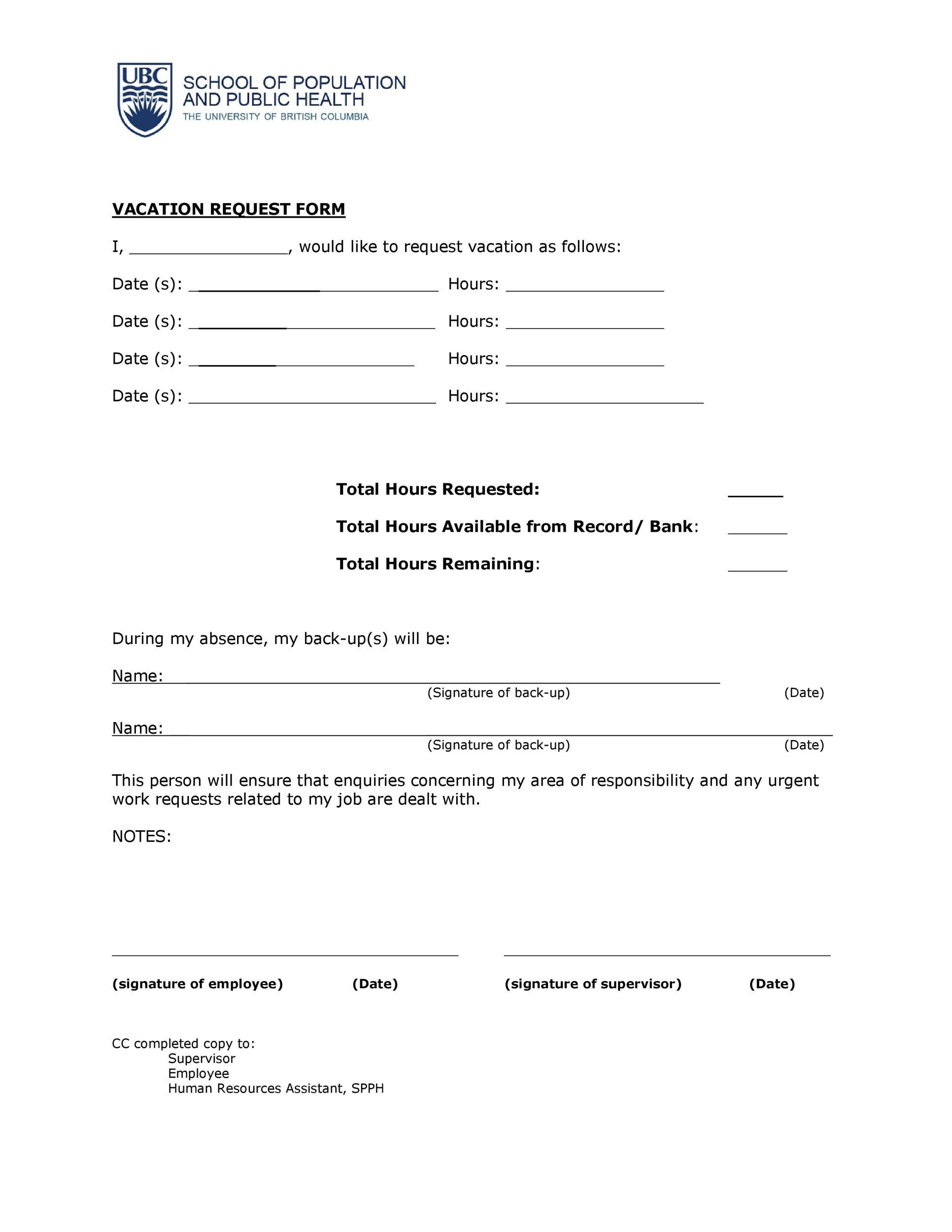 Free vacation request form 31