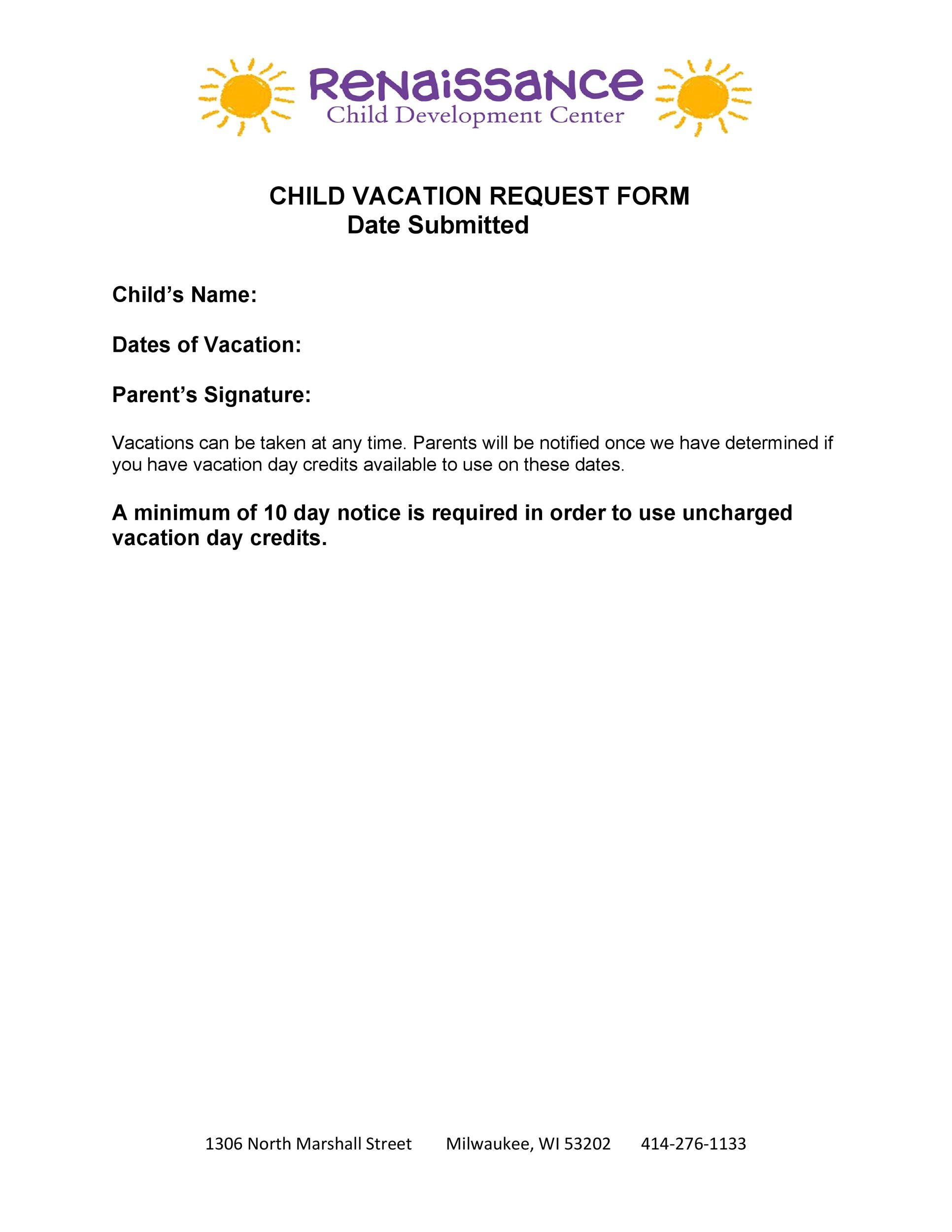Free vacation request form 32