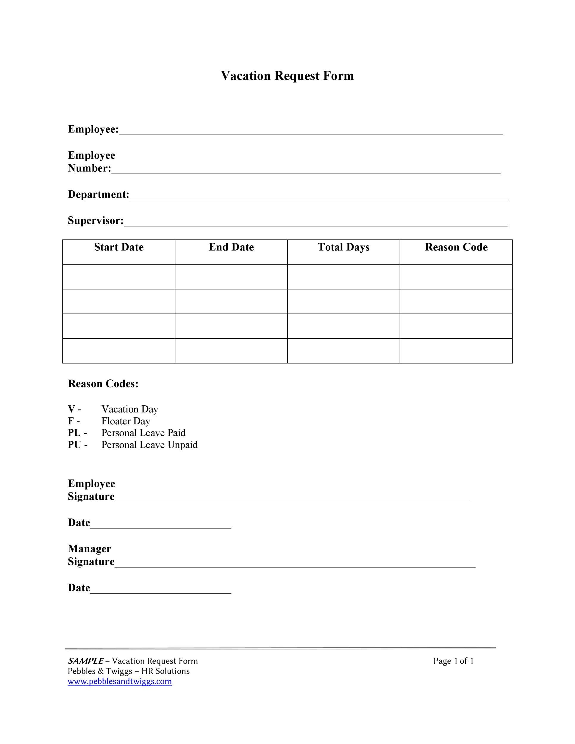 Free vacation request form 33