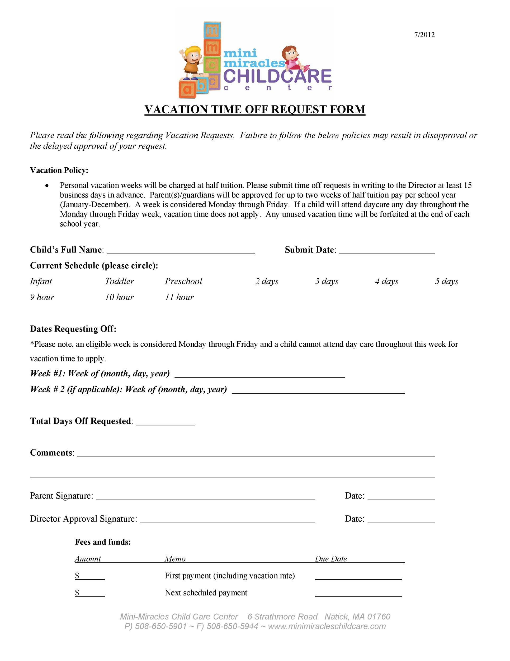 Free vacation request form 35