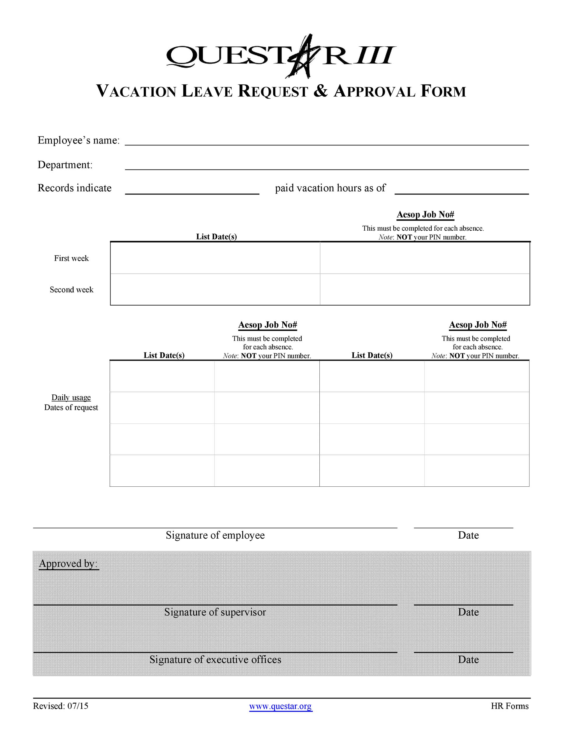Free vacation request form 36