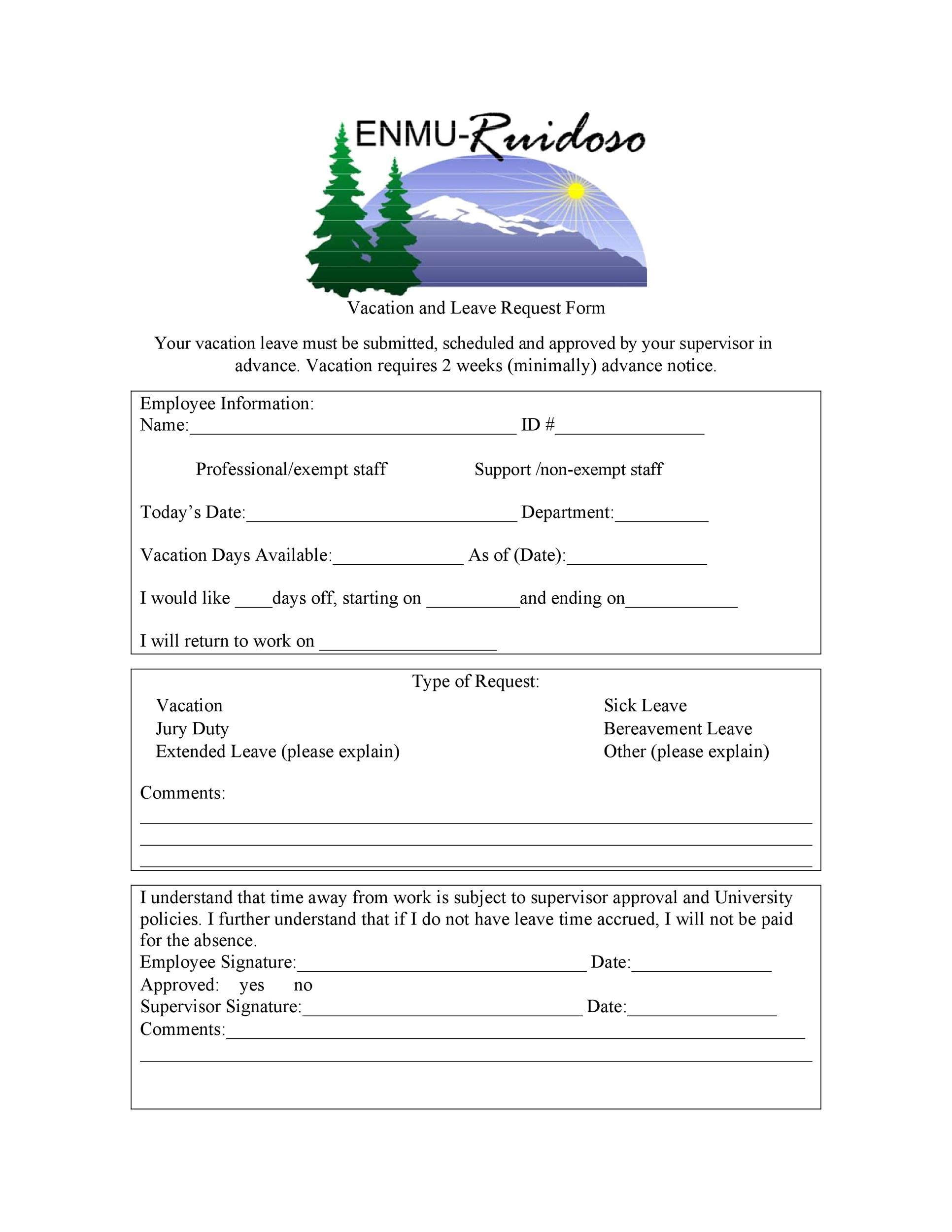 Free vacation request form 37