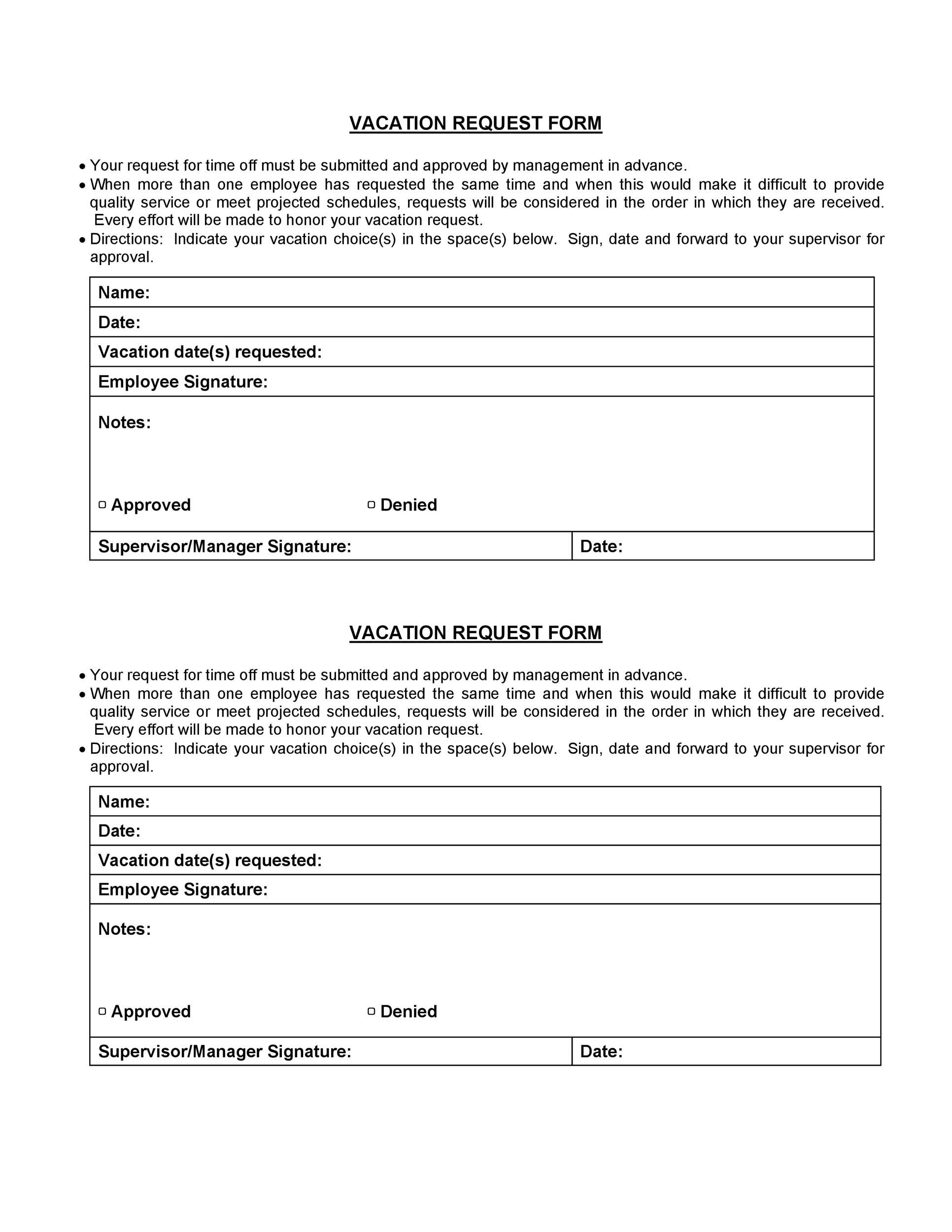 50 Professional Employee Vacation Request Forms [Word]