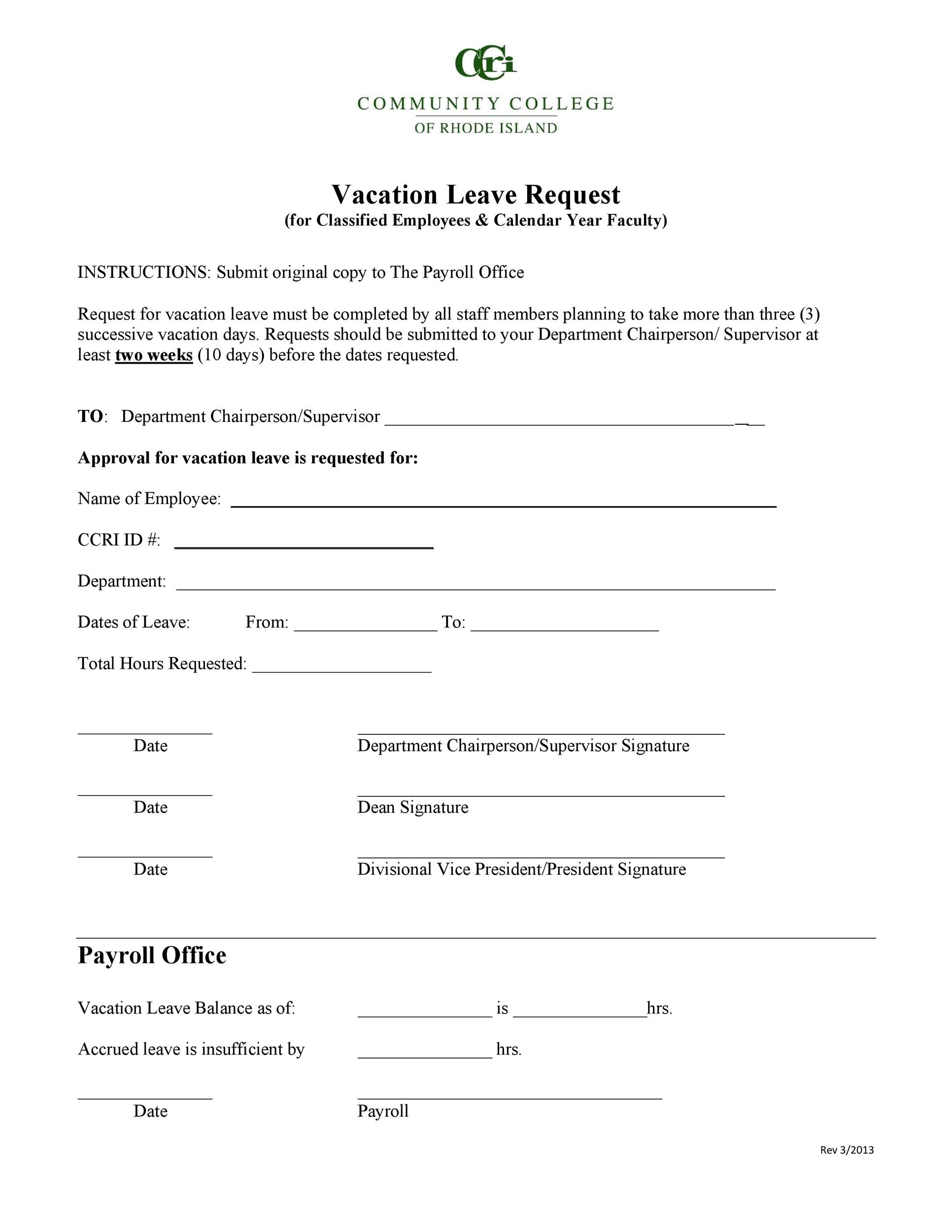 Free vacation request form 40