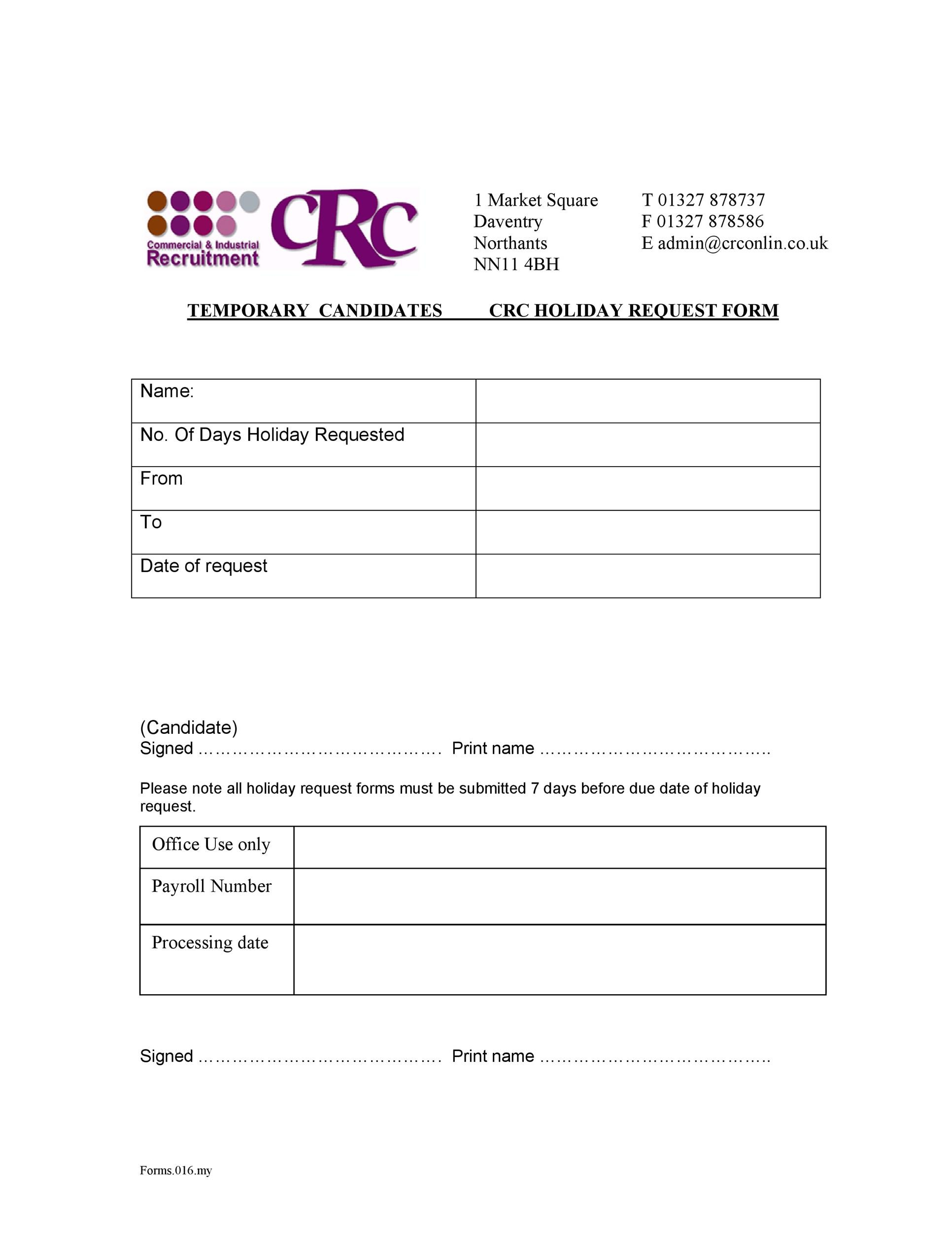 Free vacation request form 41