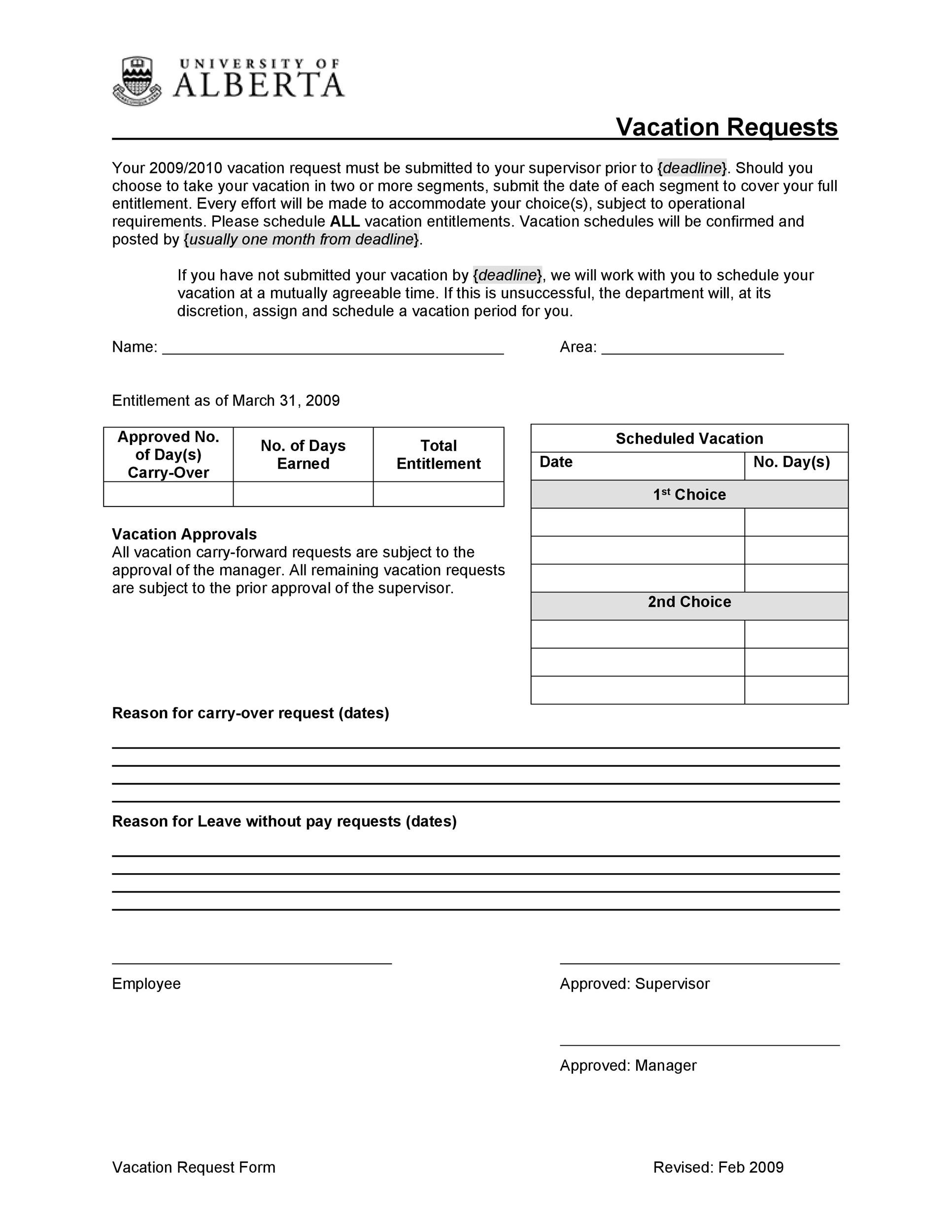 Free vacation request form 44