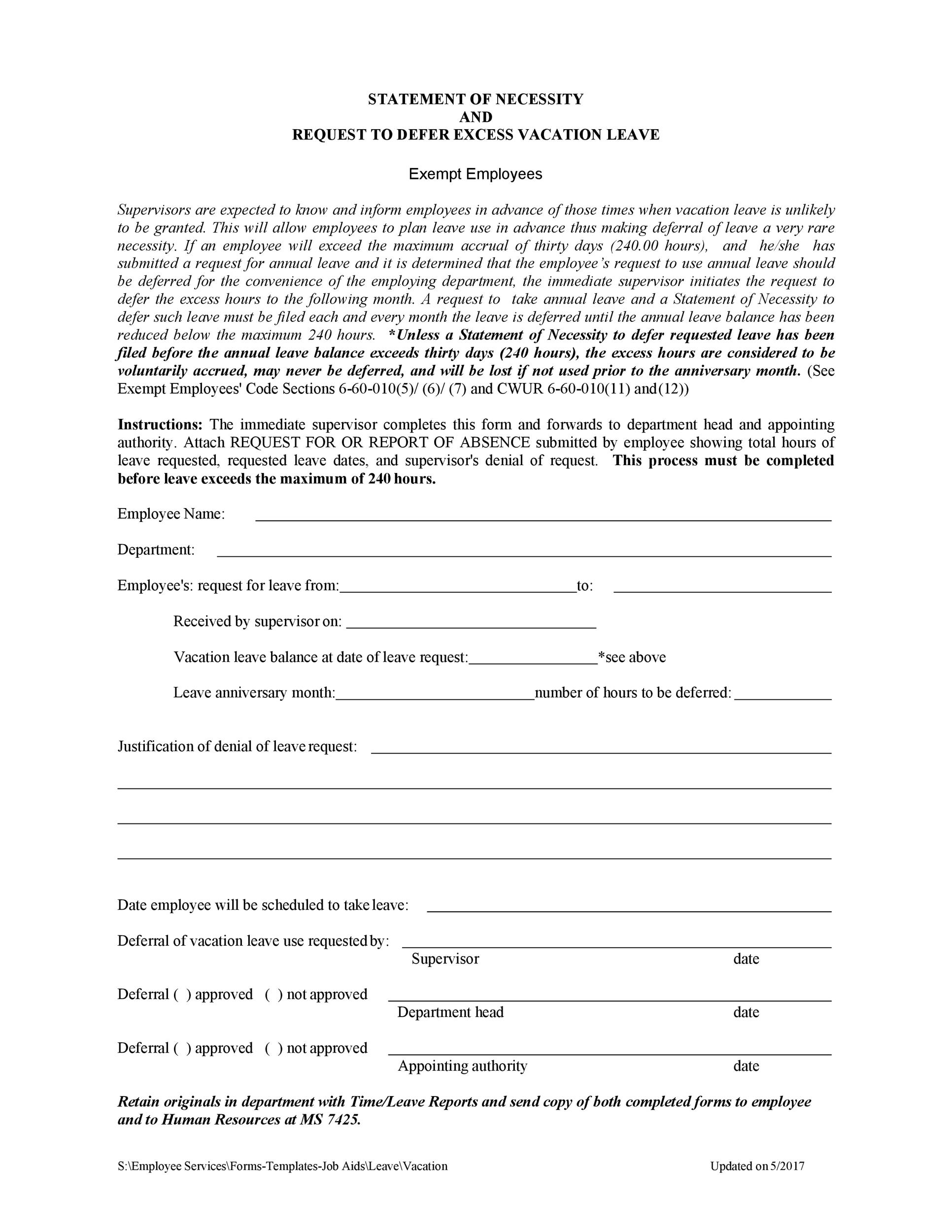 Free vacation request form 45
