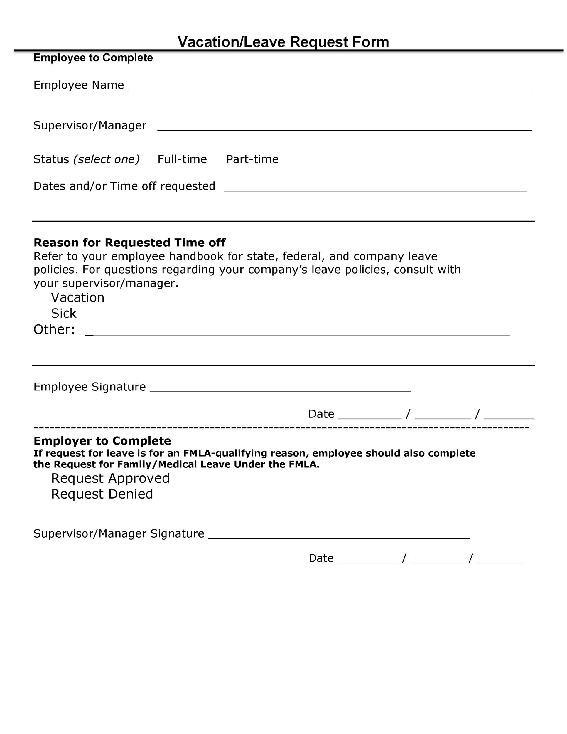 Free vacation request form 46