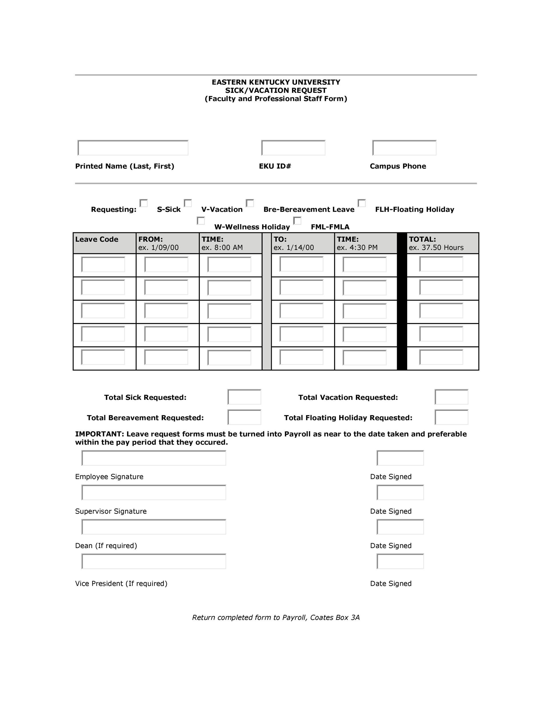 Free vacation request form 47