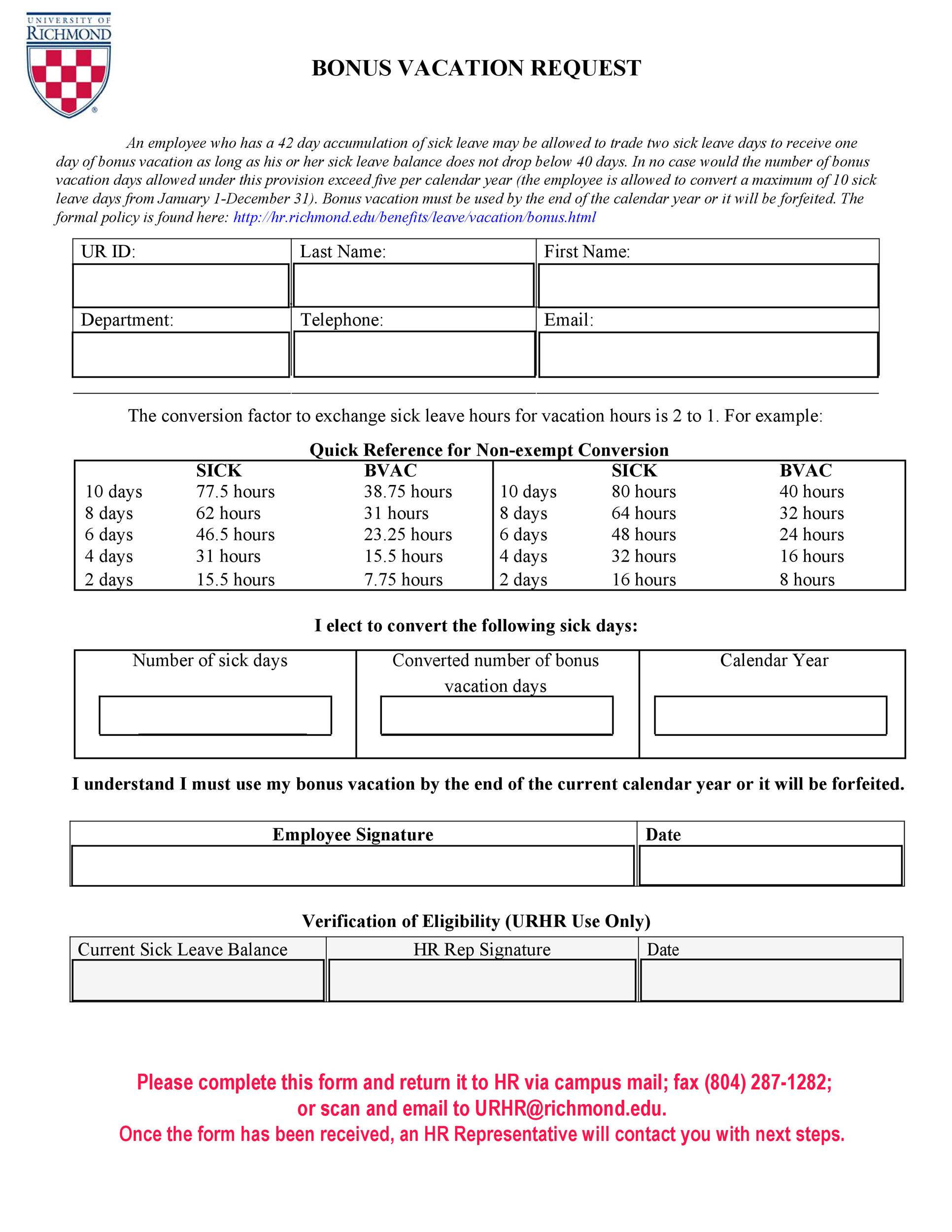 Free vacation request form 49