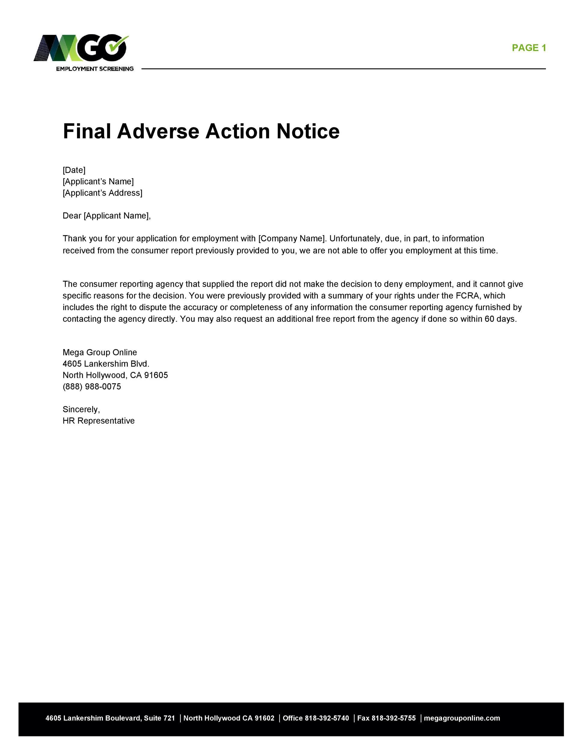 Free adverse action notice 09