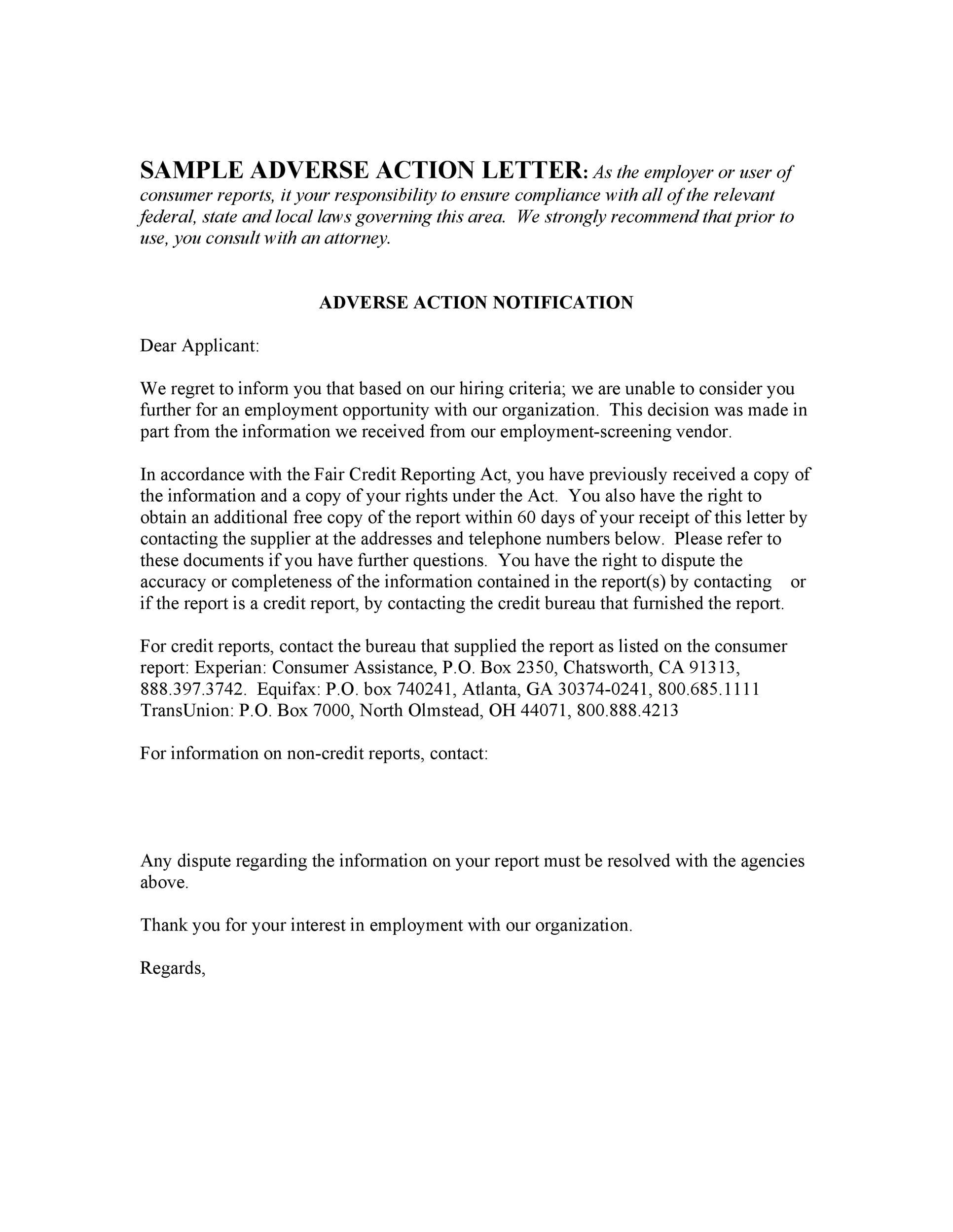 Free adverse action notice 25