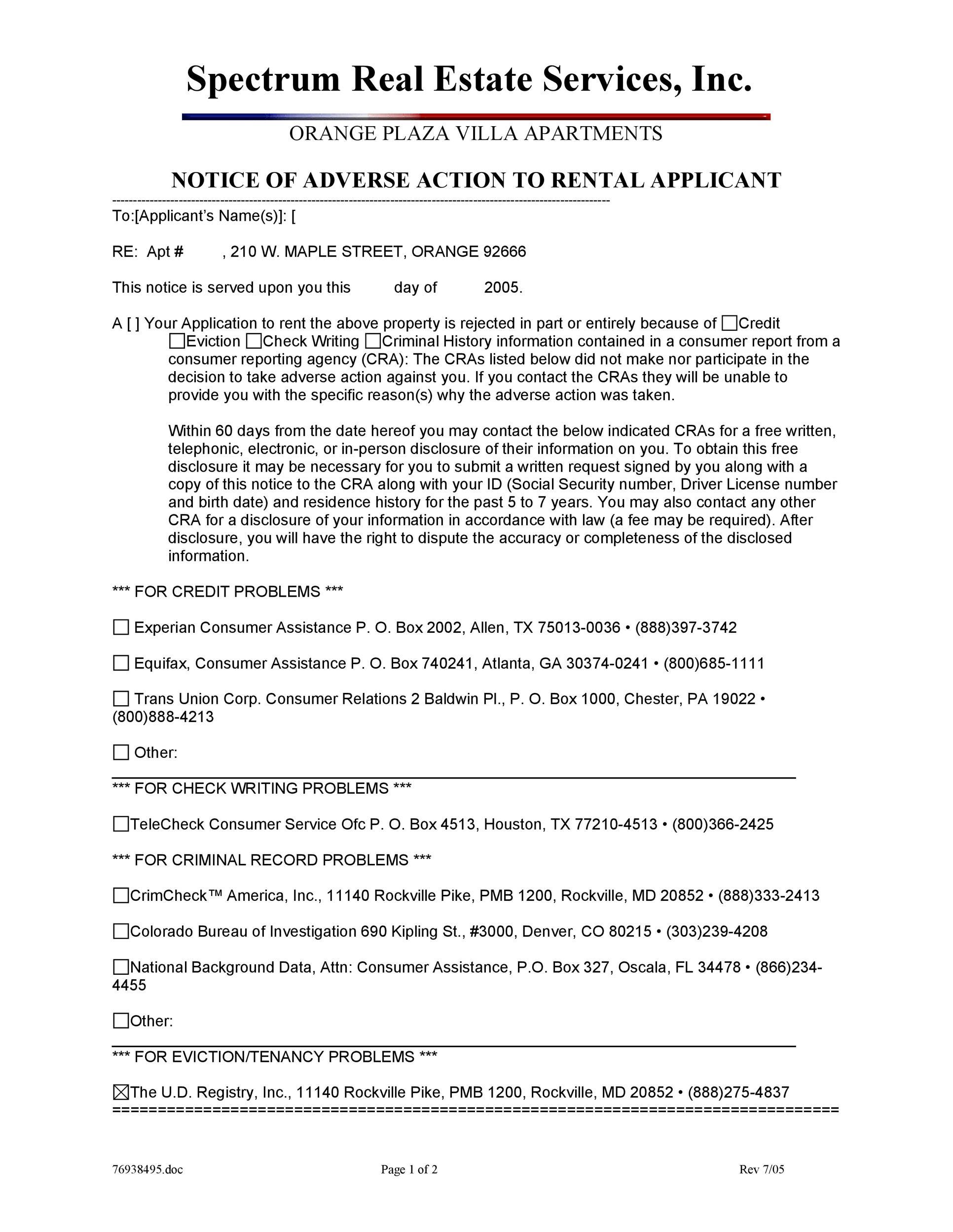 Free adverse action notice 33