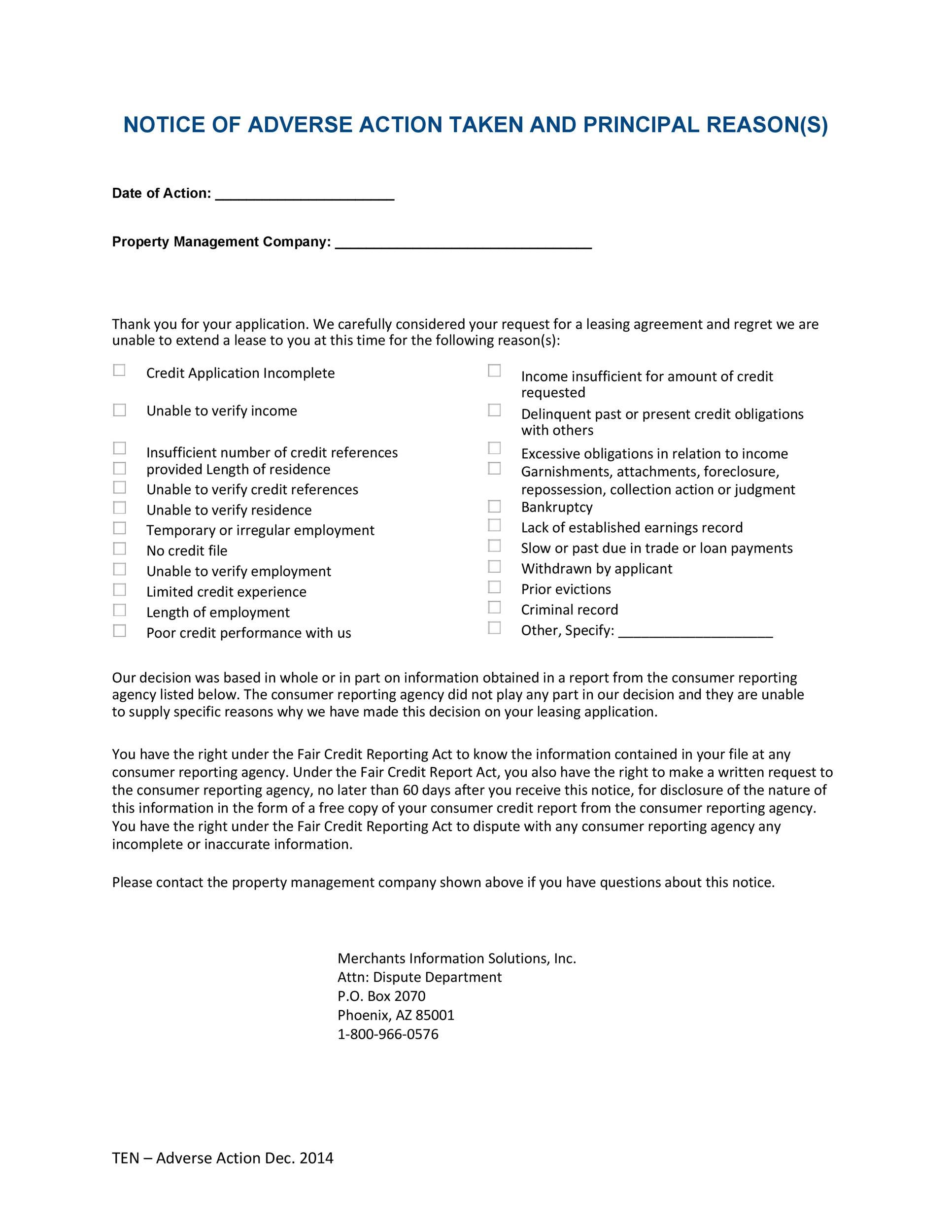Free adverse action notice 41