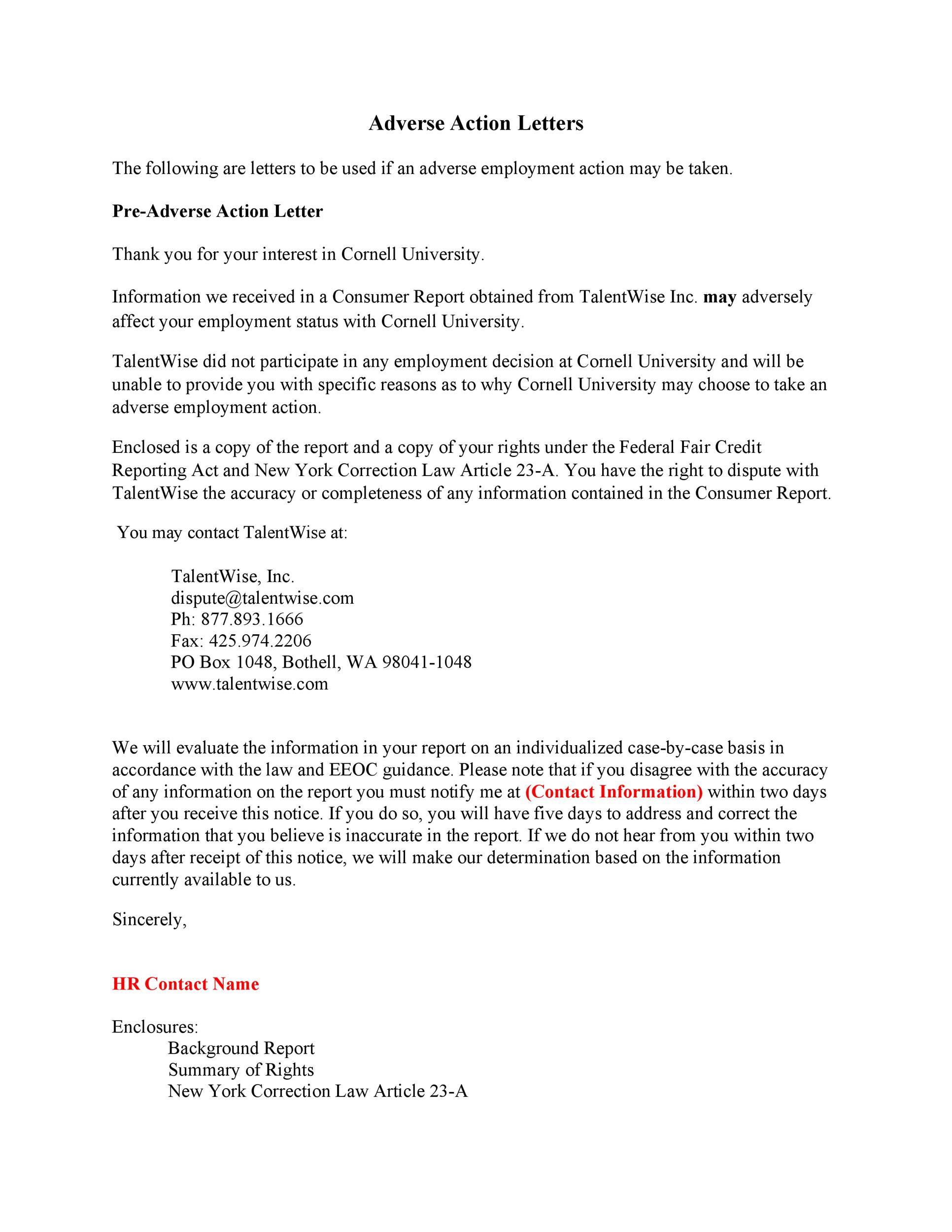 Free adverse action notice 45