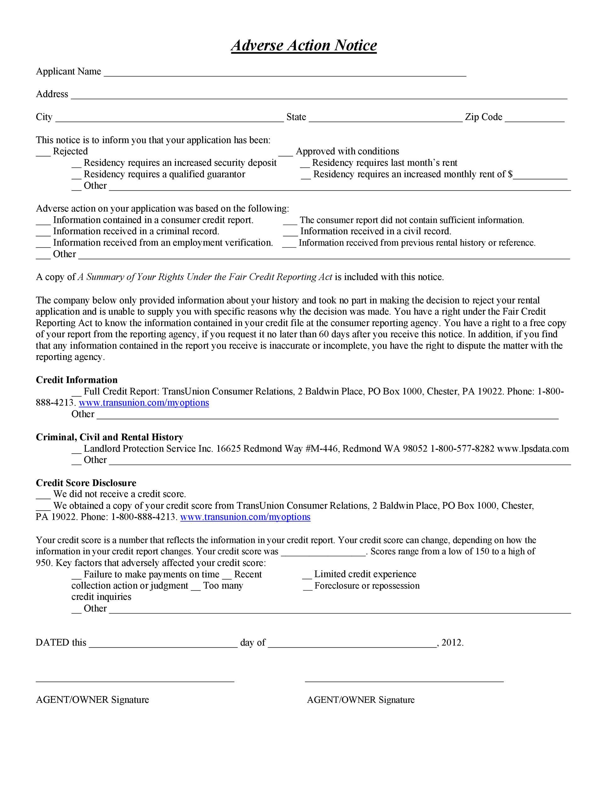 Free adverse action notice 48