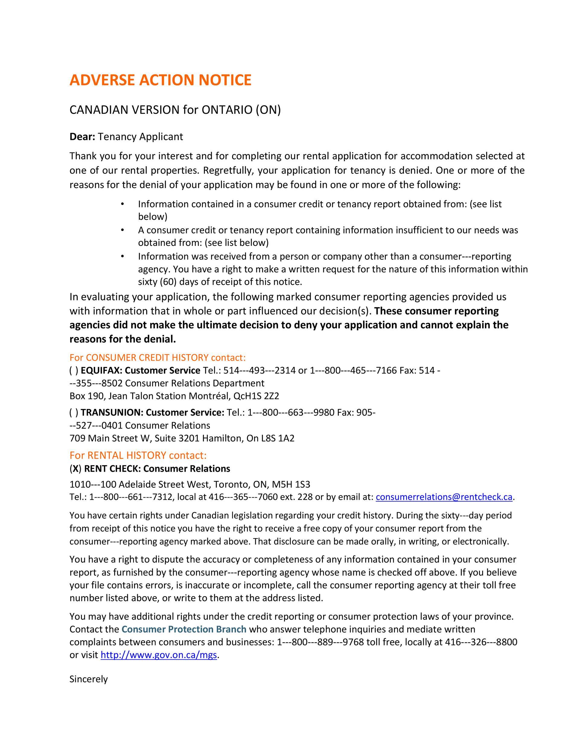 Free adverse action notice 49