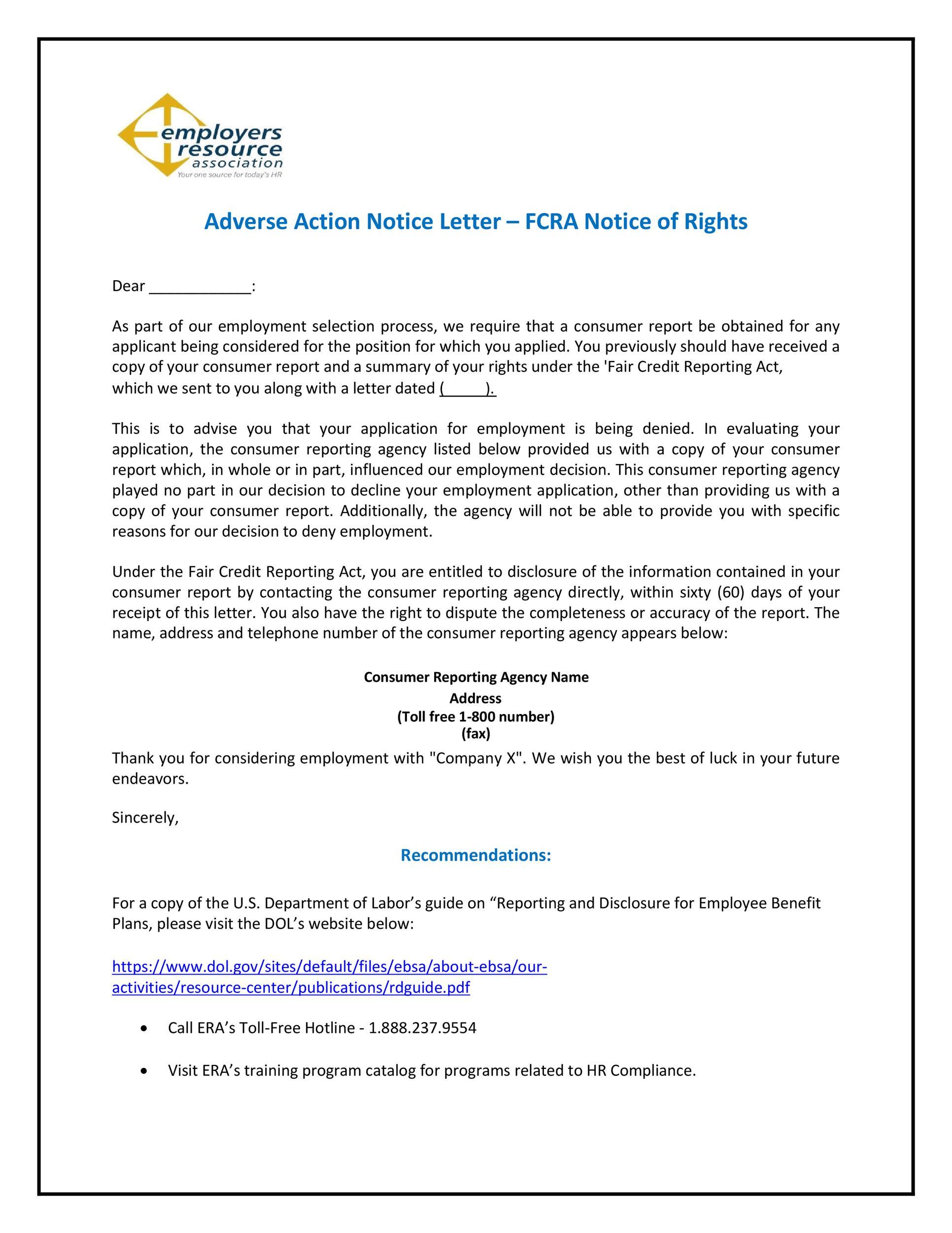 Free adverse action notice 50
