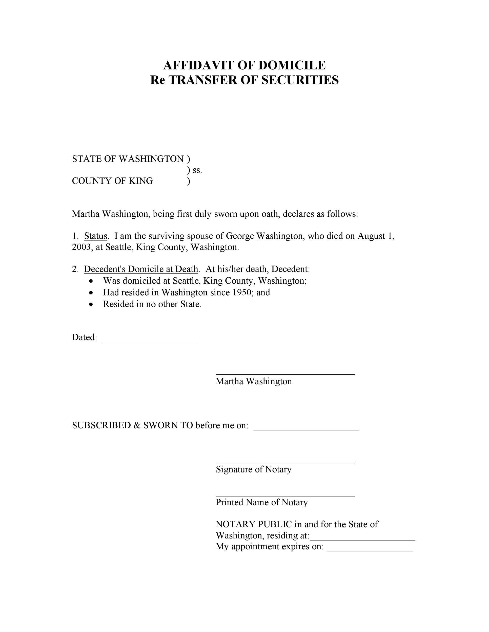 Free affidavit of domicile 04