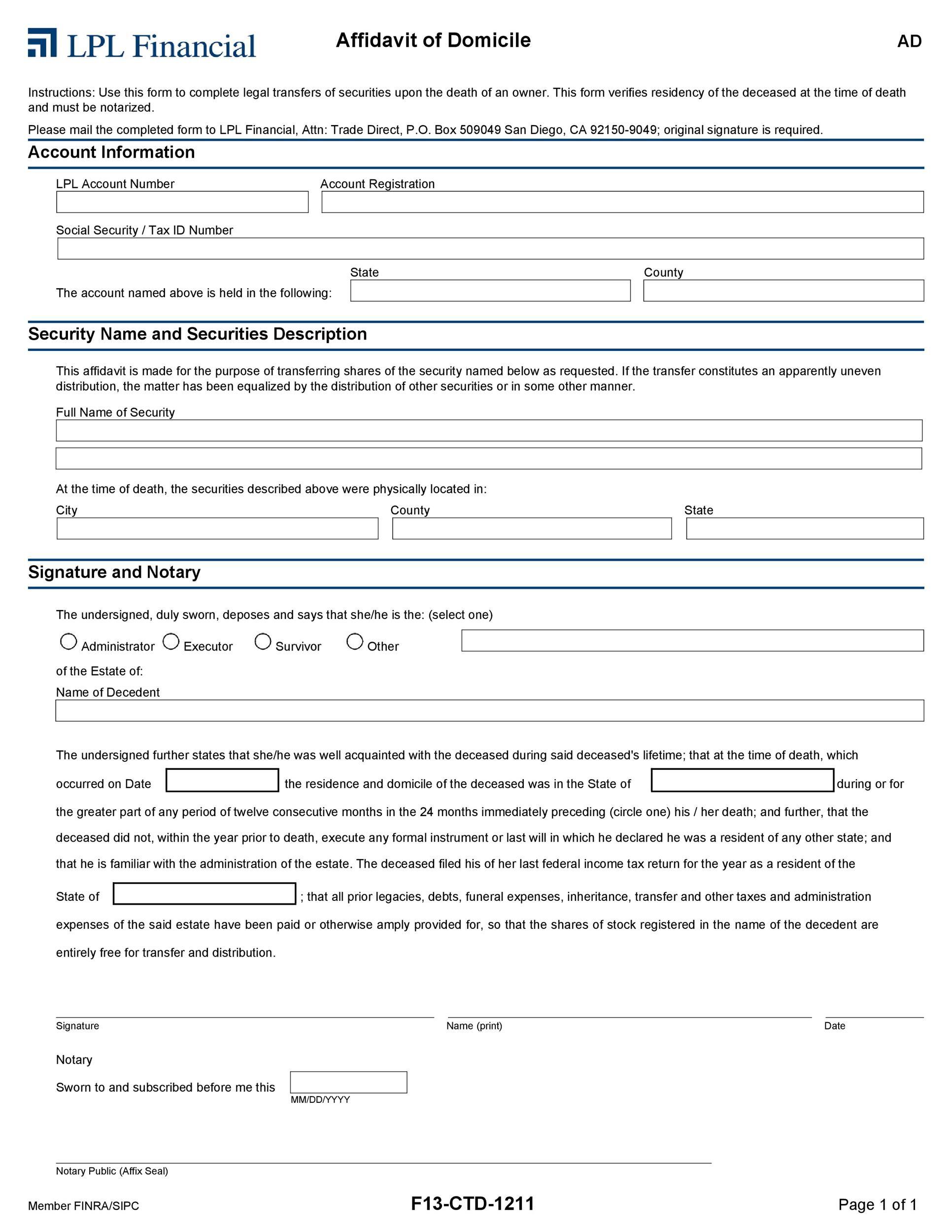 Free affidavit of domicile 05