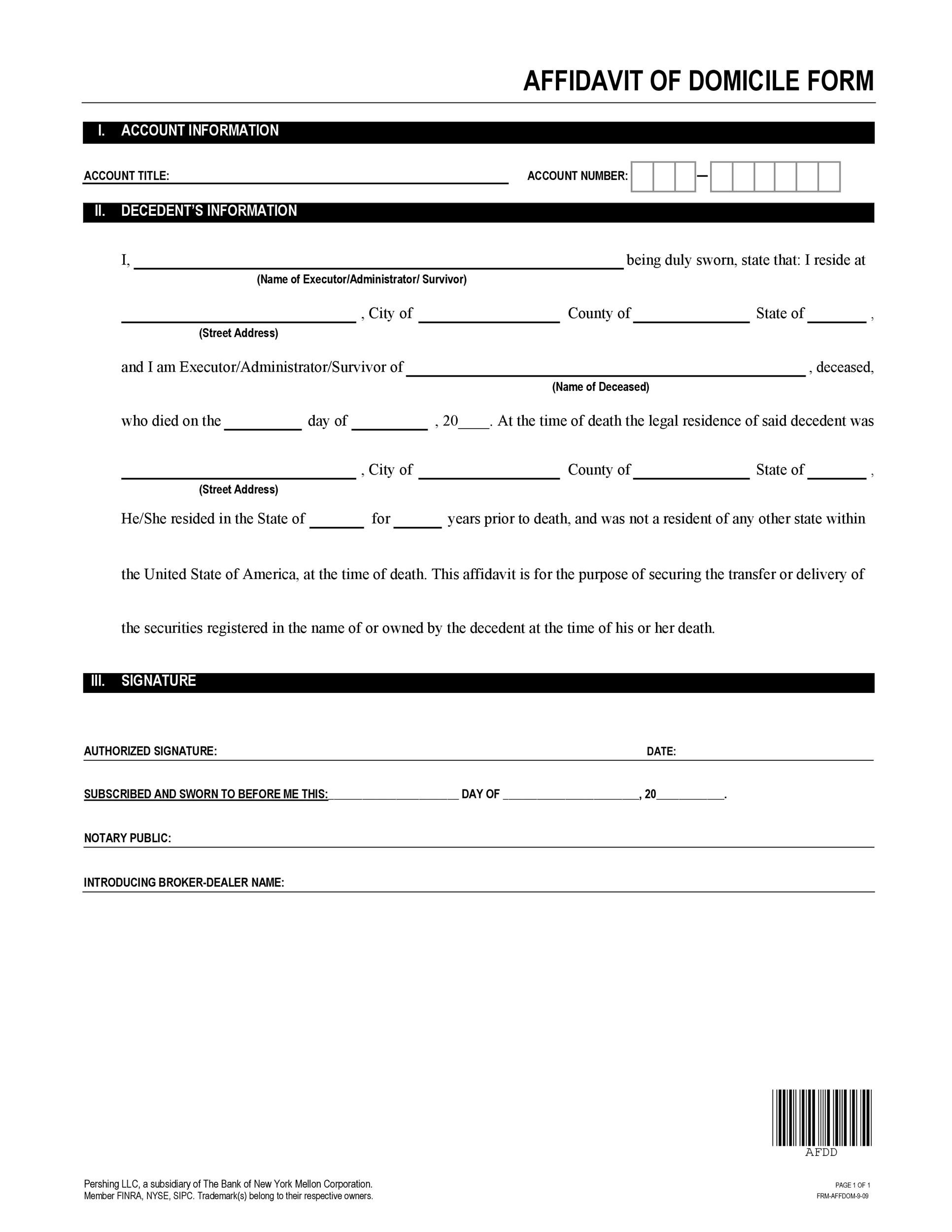 Free affidavit of domicile 09