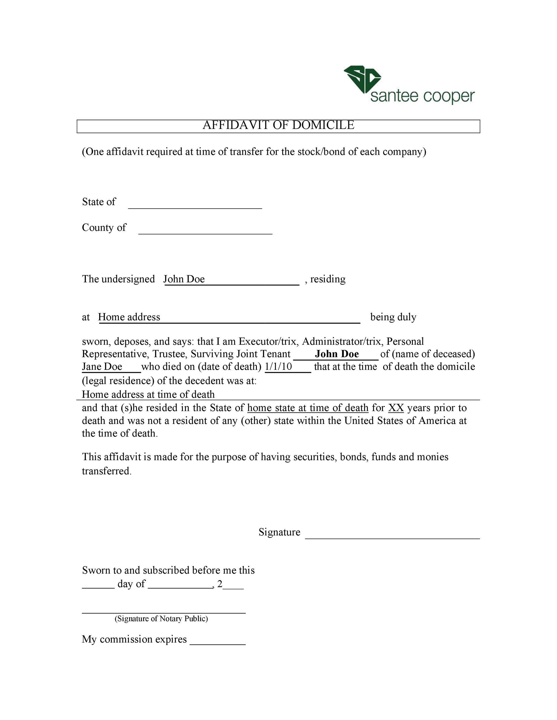 Free affidavit of domicile 12