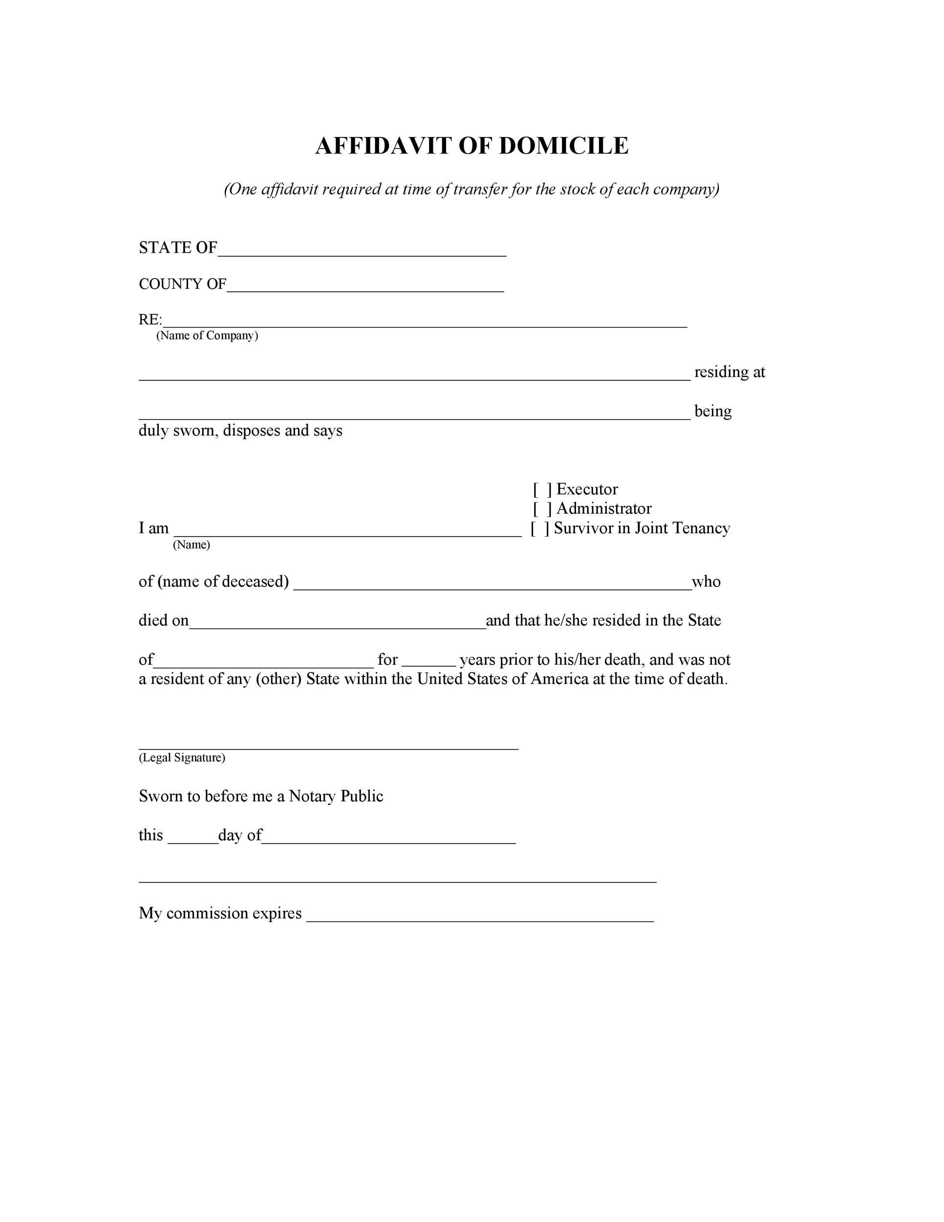 Free affidavit of domicile 18