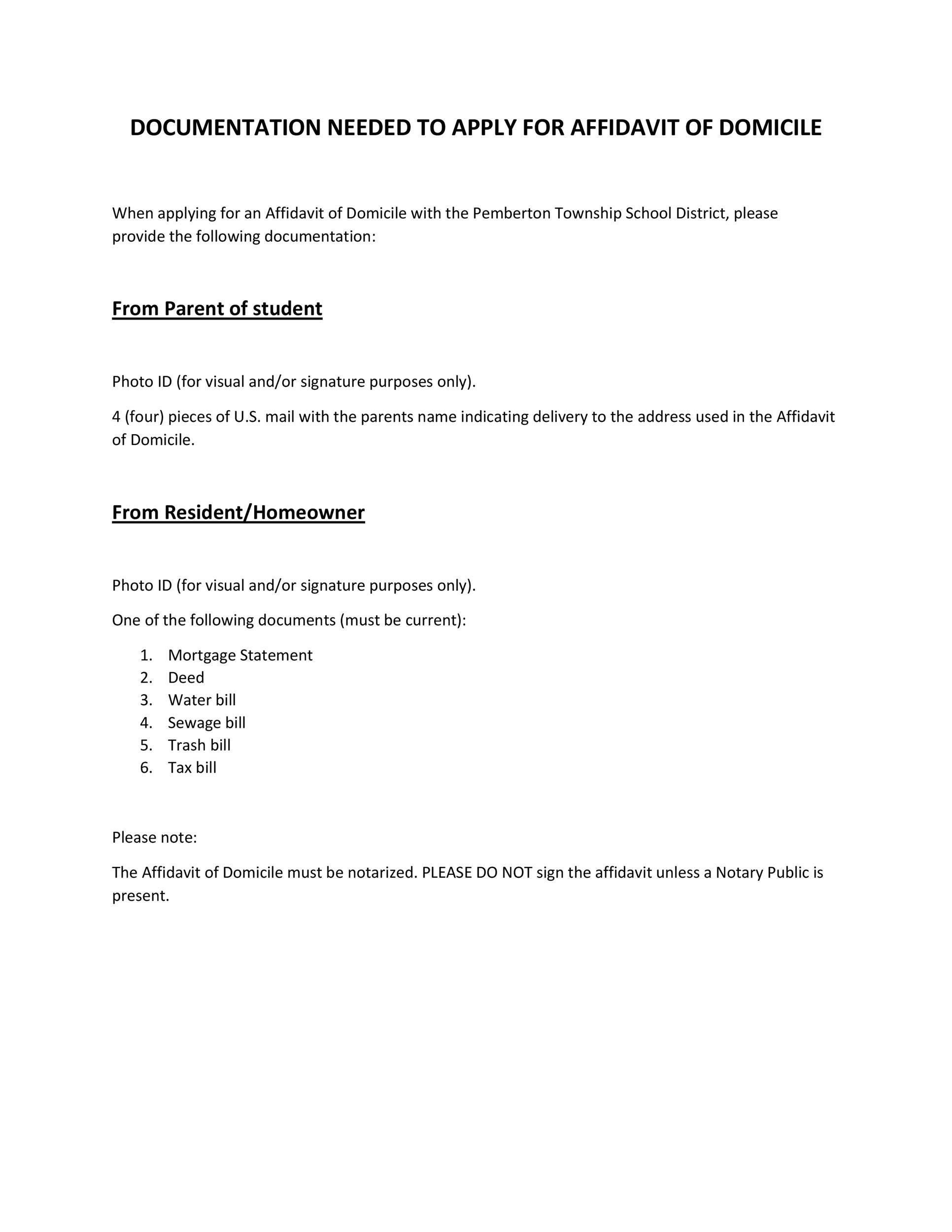 Free affidavit of domicile 20