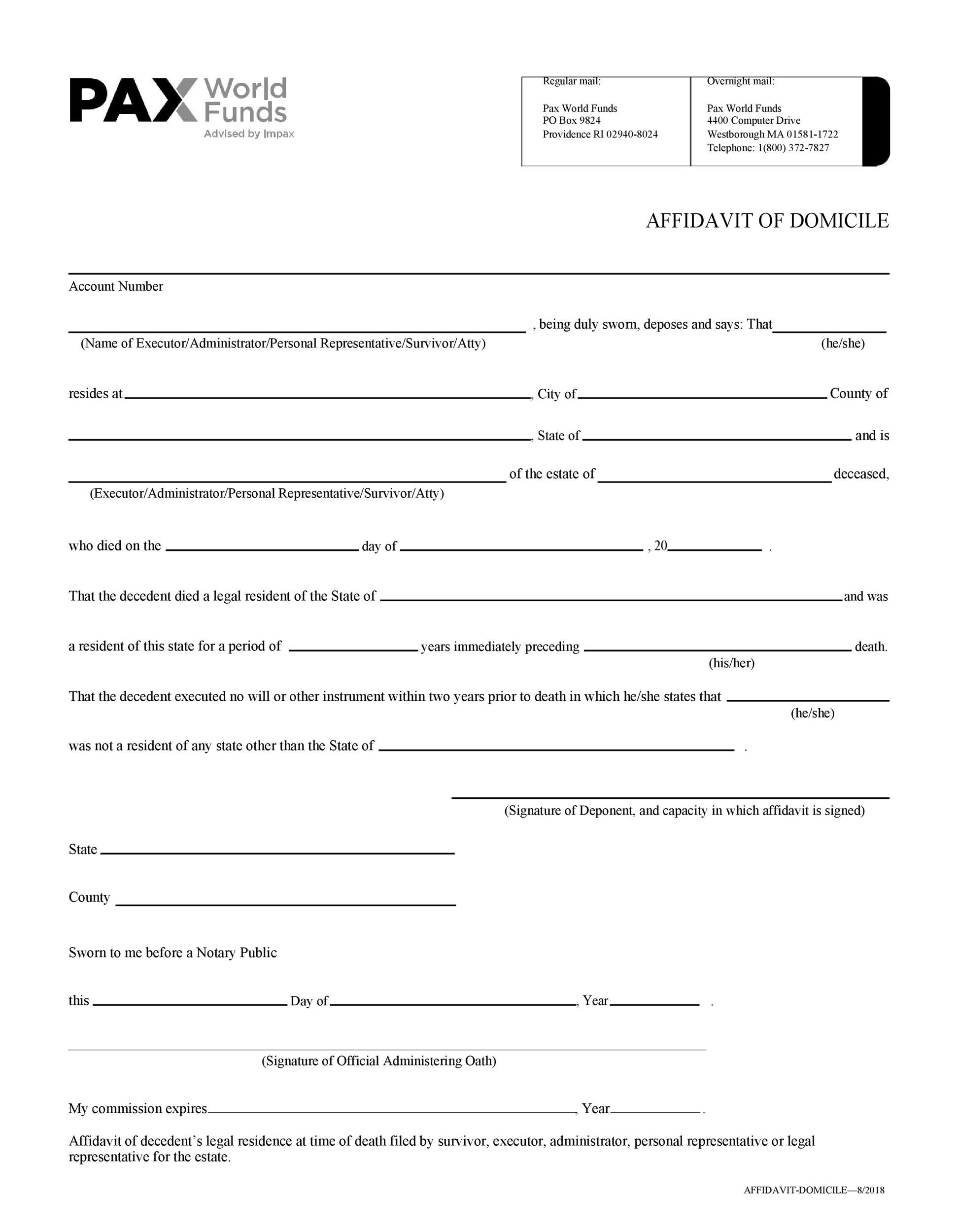 Free affidavit of domicile 26