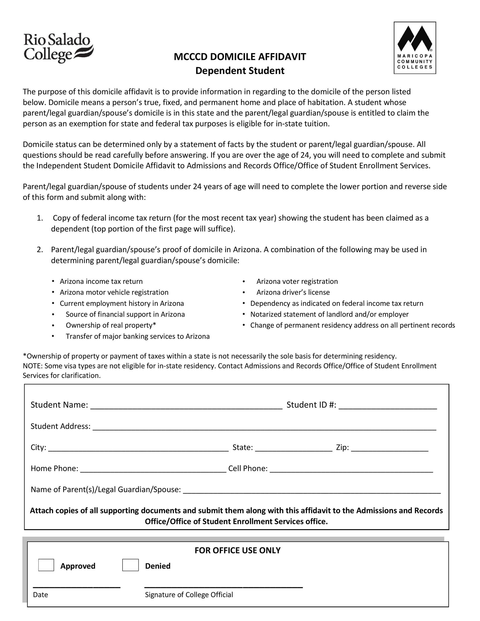 Free affidavit of domicile 28