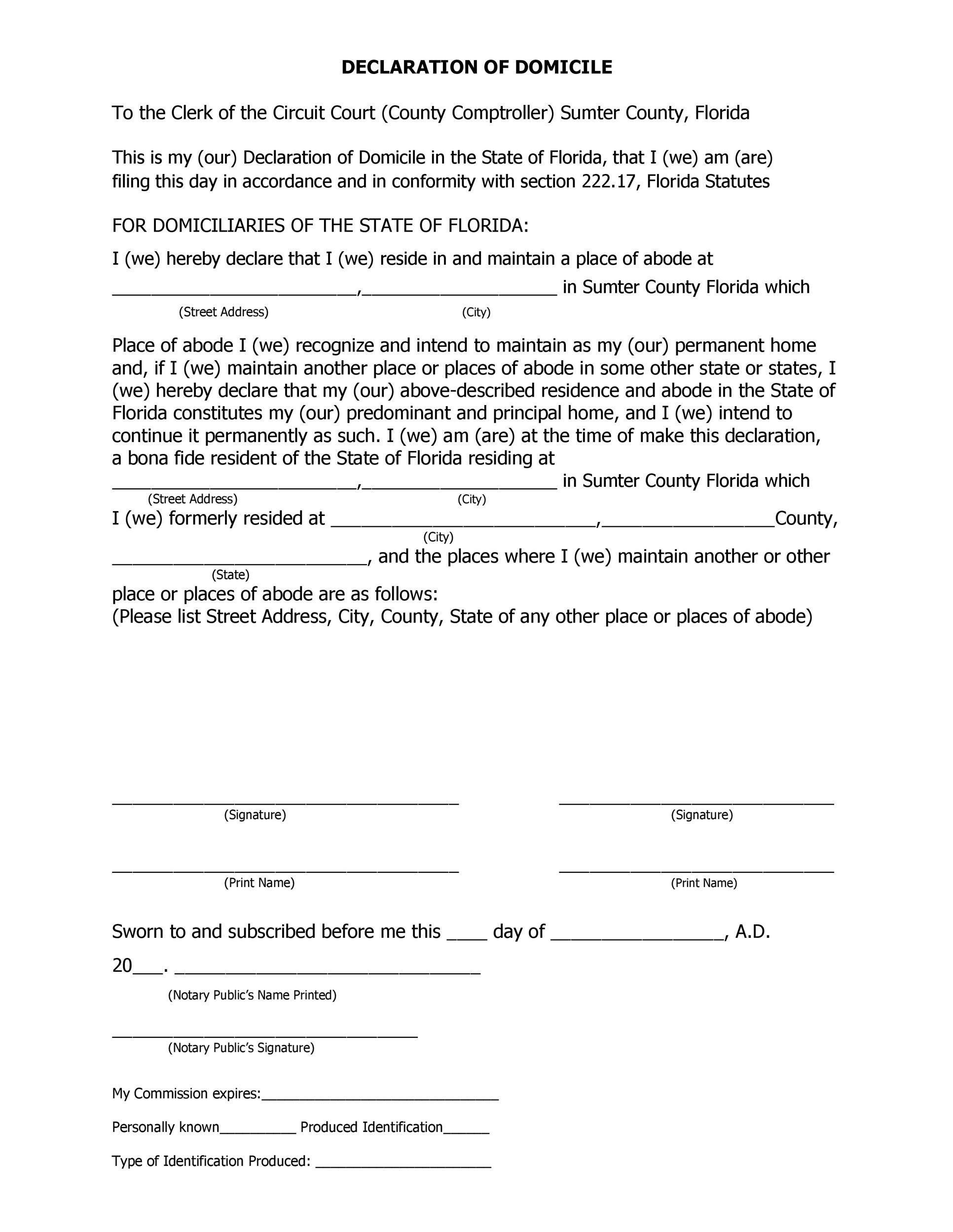 Free affidavit of domicile 38