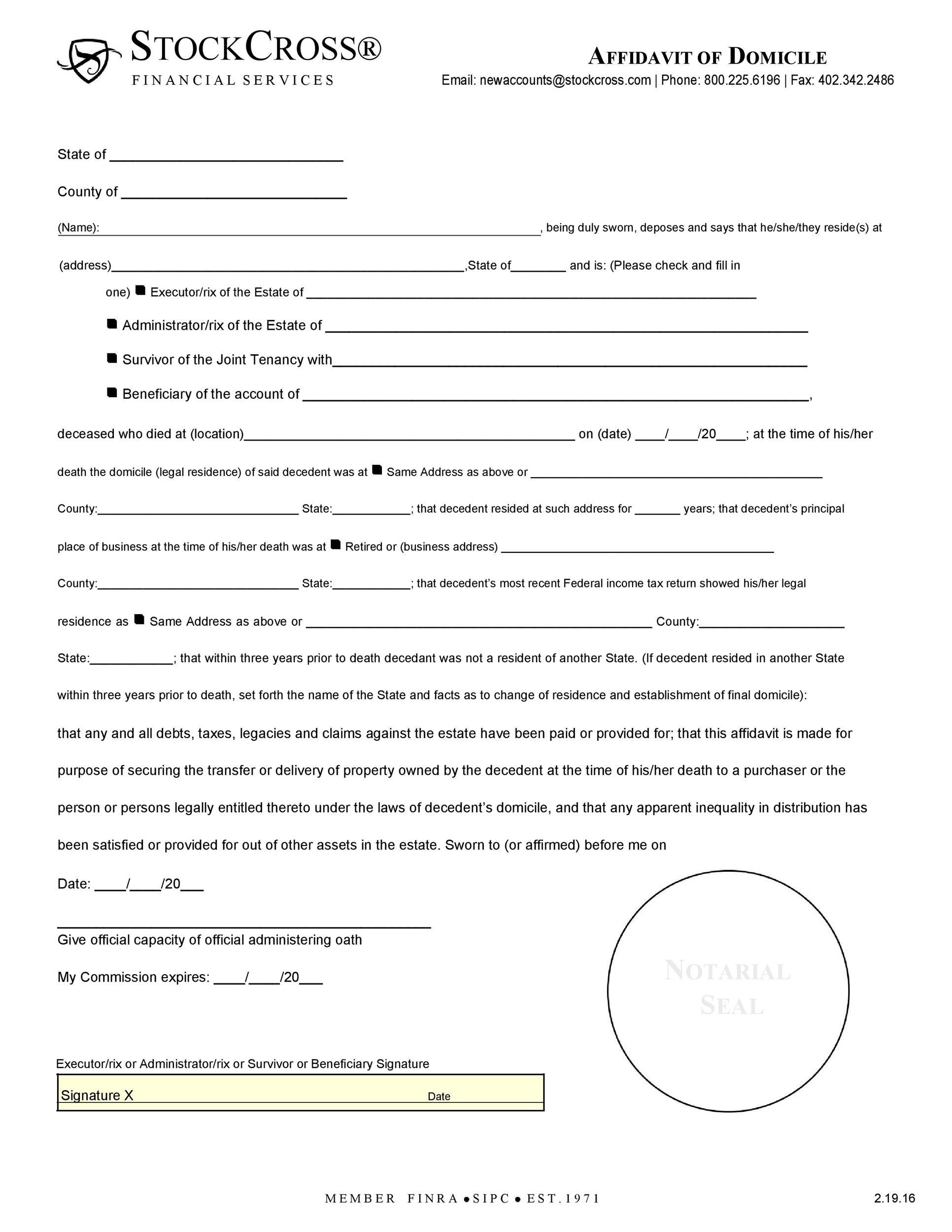 Free affidavit of domicile 44