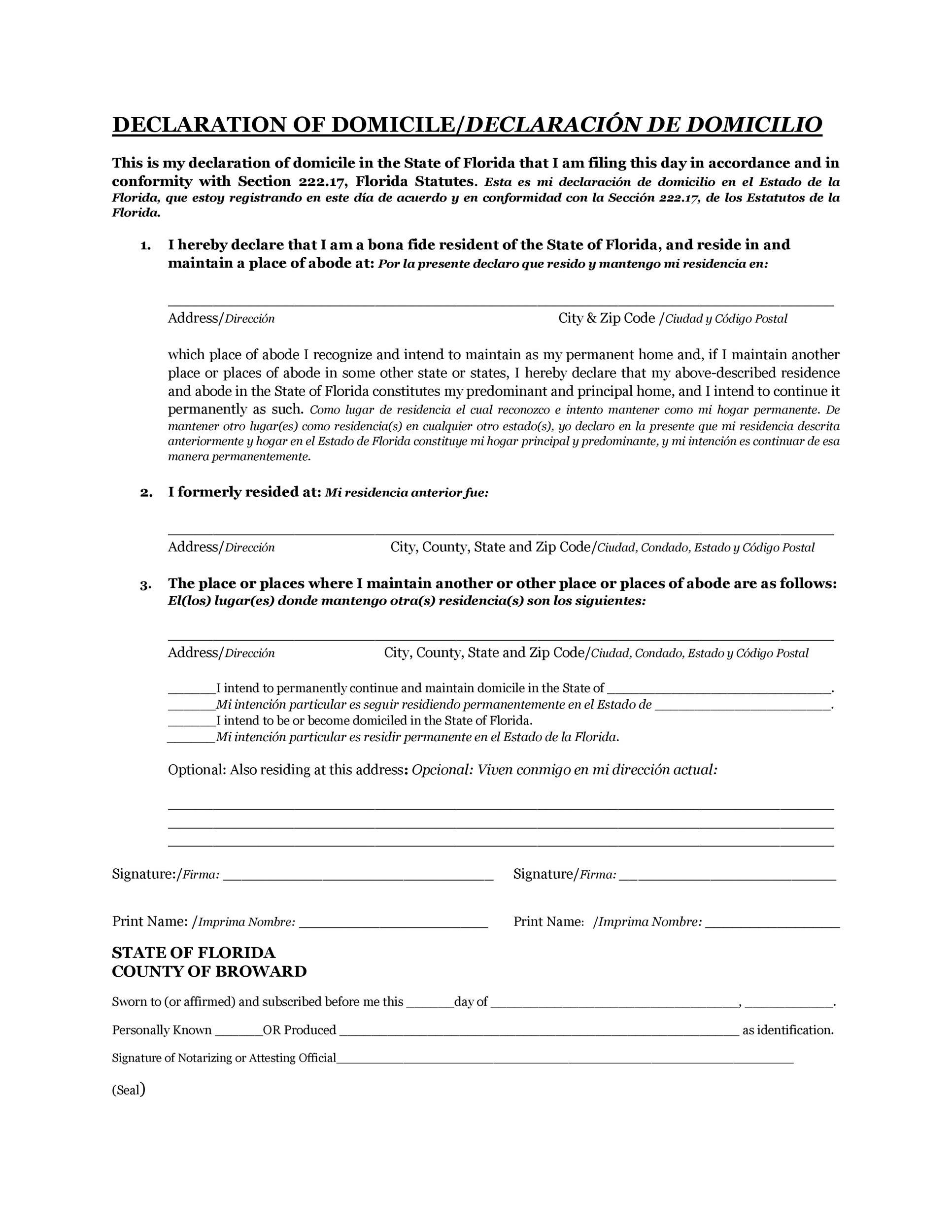 Free affidavit of domicile 45